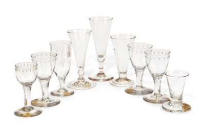 NINE ENGLISH DRINKING GLASSES