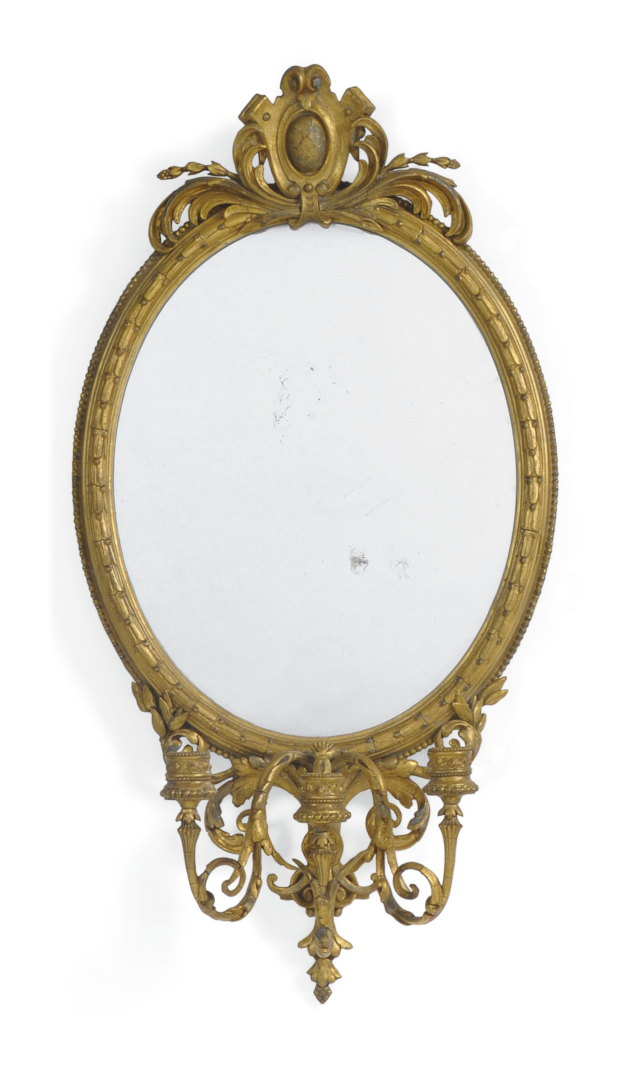 A PAIR OF VICTORIAN GILTWOOD AND COMPOSITION GIRANDOLE MIRRORS