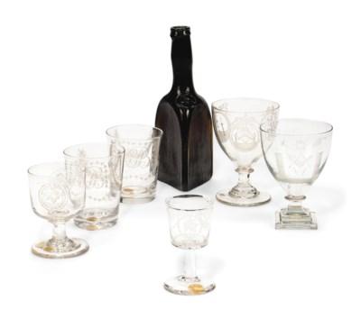 A GROUP OF MASONIC GLASSWARE