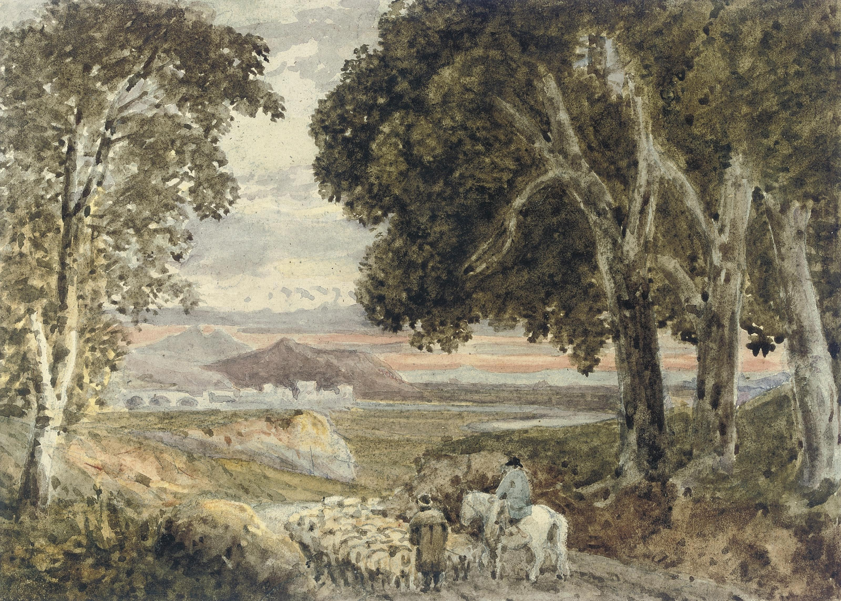 Shepherds with their flock at sunset, in a mountainous landscape