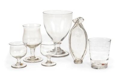 FIVE ENGLISH DRINKING GLASSES