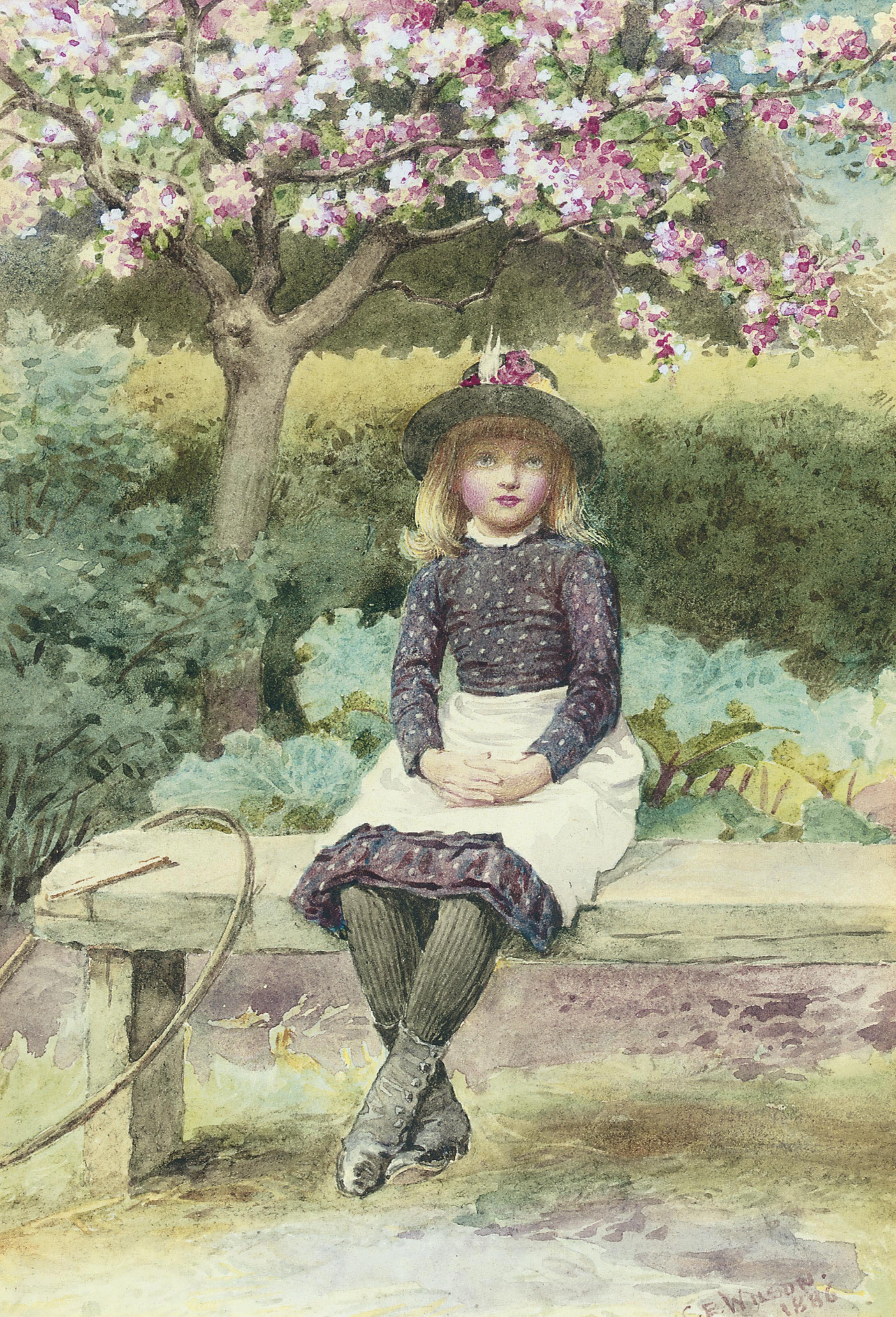 A young girl with a hoop and stick, seated on a bench, below an apple tree in blossom