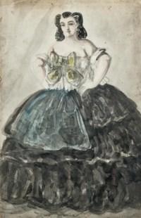 Portrait of a lady wearing a black dress