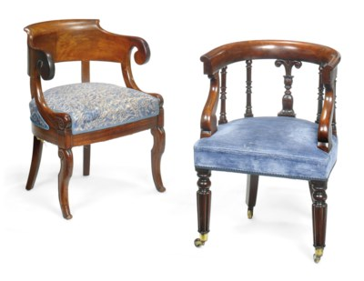 TWO MAHOGANY AND UPHOLSTERED D