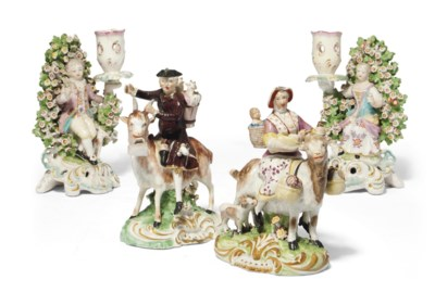 A PAIR OF DERBY FIGURAL BOCAGE