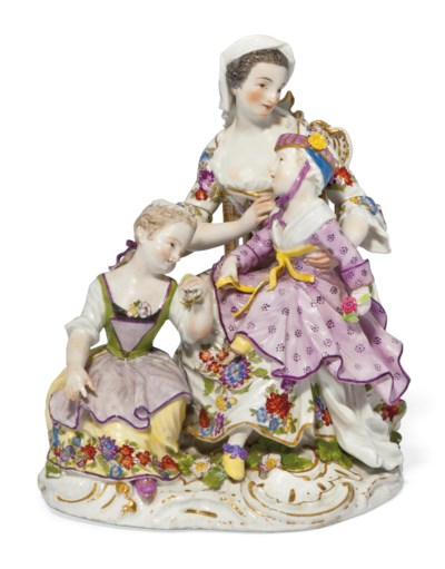 A MEISSEN GROUP OF A NANNY AND