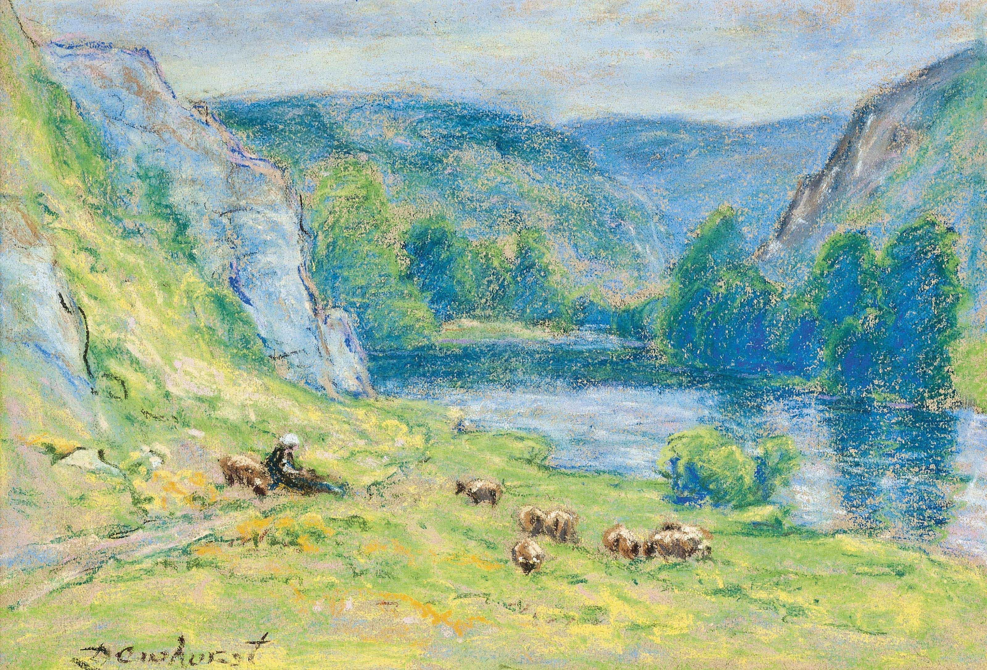 Shepherdess watching her flock