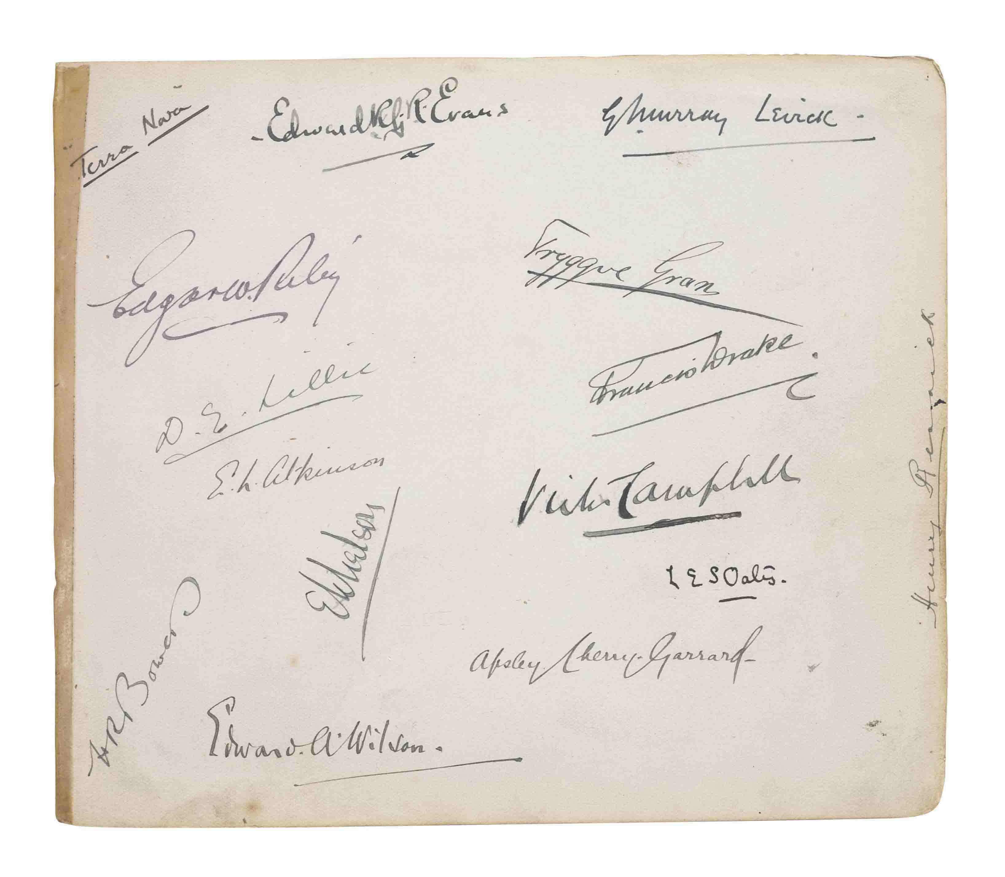 BRITISH ANTARCTIC EXPEDITION, 1910. Signatures of Robert Falcon Scott, Edward A. Wilson, Lawrence Oates, Henry Robertson Bowers, Apsley Cherry-Garrard, Edward R.G.R. Evans, E.L. Atkinson, Victor Campbell, G. Murray Levick, Edgar W. Riley, Tryggve Gran, D.G. Lillie, Francis Drake, Henry Rennick and E.W. Nelson, n.p. [possibly Cardiff], n.d. [?June 1910], on two leaves of an autograph album, the Scott signature alone on f.3 (with a portrait photograph and two lines excised from a newspaper), the remaining signatures on a single page (f.9), with manuscript heading 'Terra Nova' (reattached with old tape), the album oblong 4to, cloth covers (worn, the binding sprung).