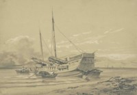 China - seven sketches: 'Entre Chi-noy et Canton'; 'Bain à Namu'; 'Bambou à Hong-shang'; and four studies of junks and river landscapes