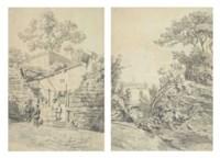 China - two sketches: 'Macao Eglise de Lazarus'; 'De Canton et Macao'