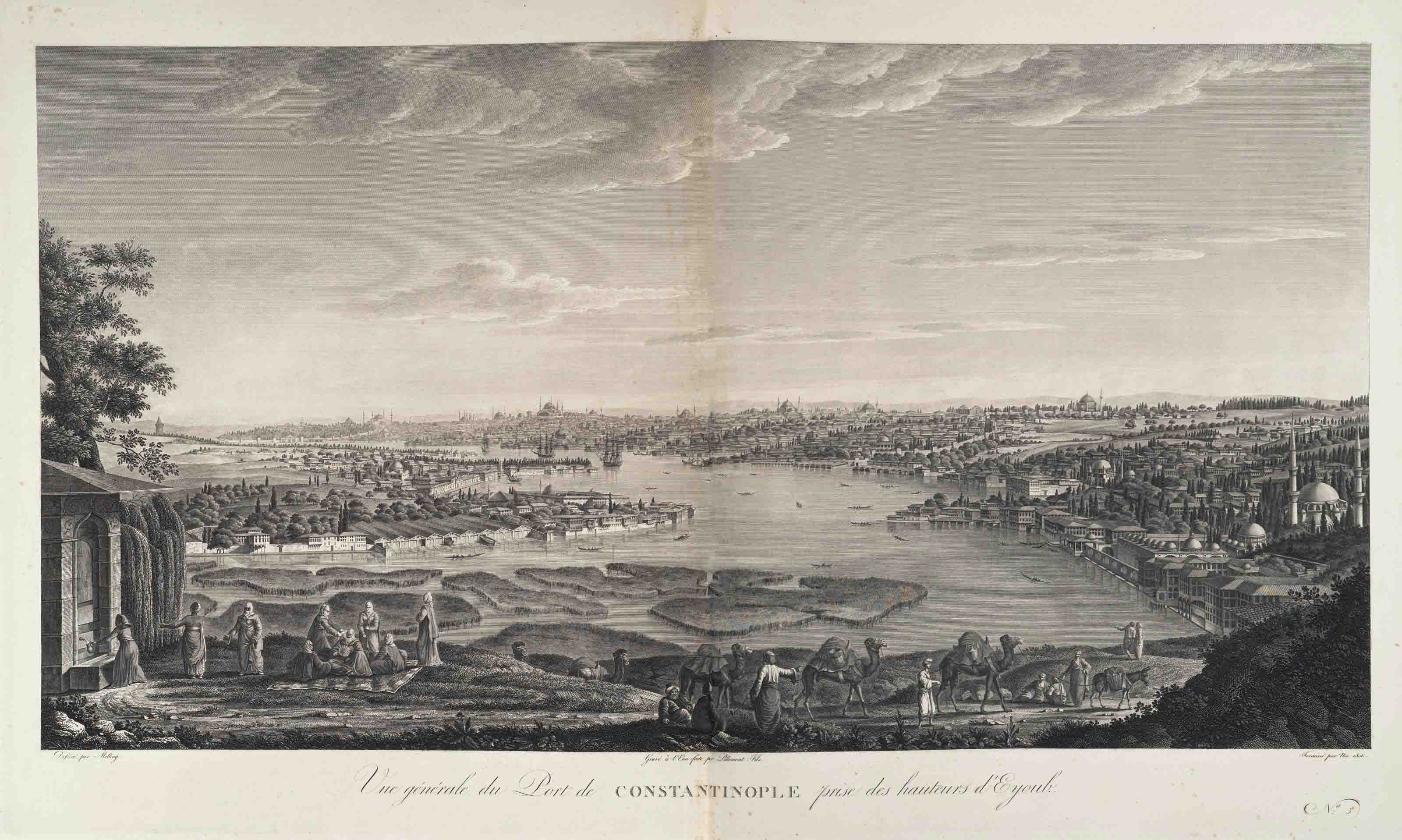 MELLING, Antoine Ignace (1763-1831). Voyage pittoresque de Constantinople et des rives du Bosphore. Paris, Strassburg and London: Treuttel et Würtz, [1809]-1819. 3 vols., 2° (656 x 530mm). Pagination: [vi], 10, [130]. Text vol. with half-title, engraved portrait frontispiece of Selim III after Lemoine, and title with chromolithographed tugra. Other vols. with engraved title, 48 double-page etched plates after Melling, some before numbers, and 3 double-page engraved maps. (Plates all on new mounts, some with light spotting to engraved area, more persistent spotting at plate margins, occasional slight staining or soiling in gutter area, plate 37 with corner torn away and closed tears in gutter, another plate with long closed tear at lower margin, text vol. affected by spotting and browning, title heavily browned.) Modern green half calf and marbled boards, gilt edges.