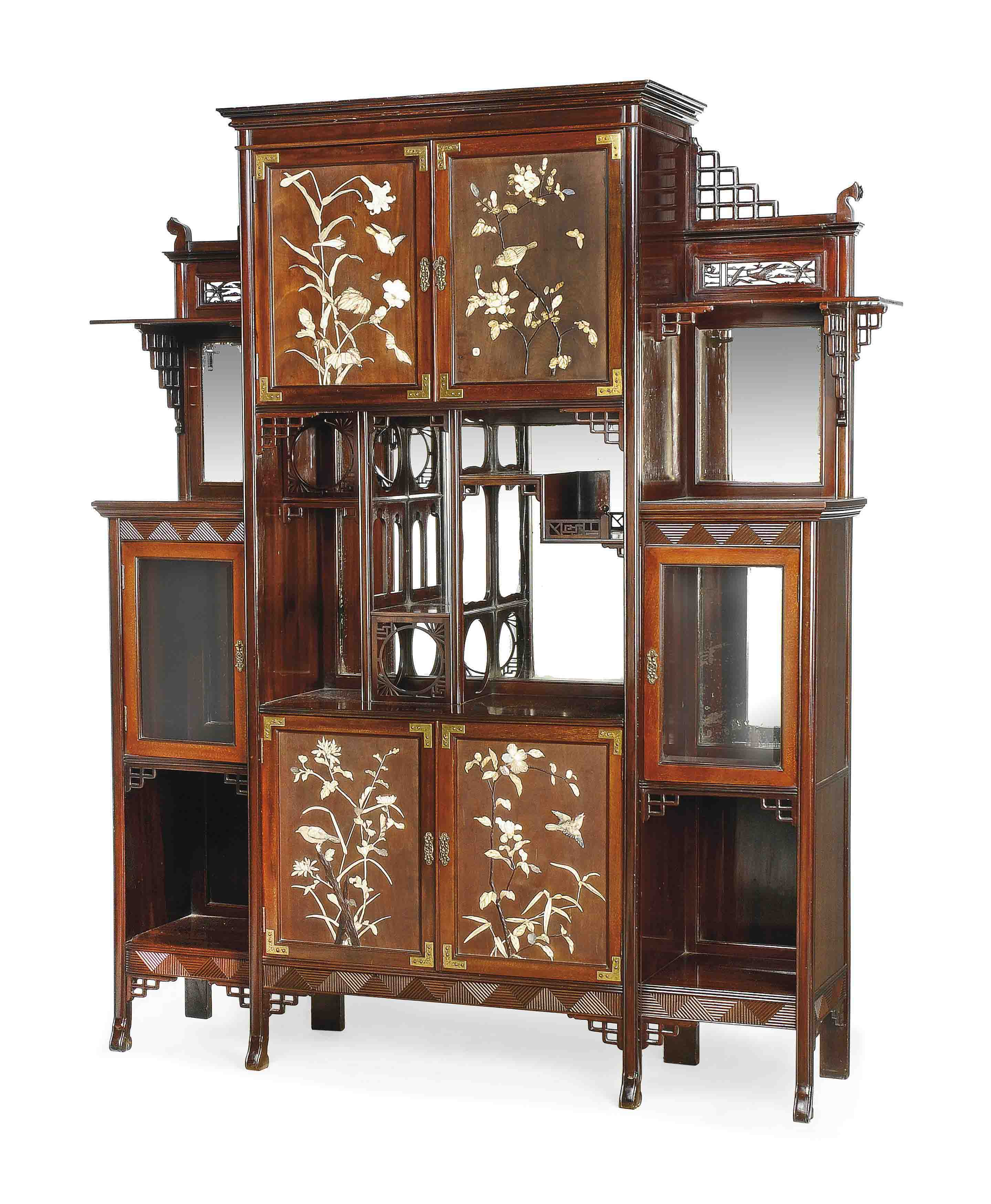 Unique Mother Of Pearl Cabinet: AN ANGLO-JAPANESE MOTHER-OF-PEARL, BONE AND IVORY INLAID