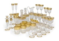 A ST.LOUIS CRYSTAL 'THISTLE' PATTERN PART TABLE-SERVICE