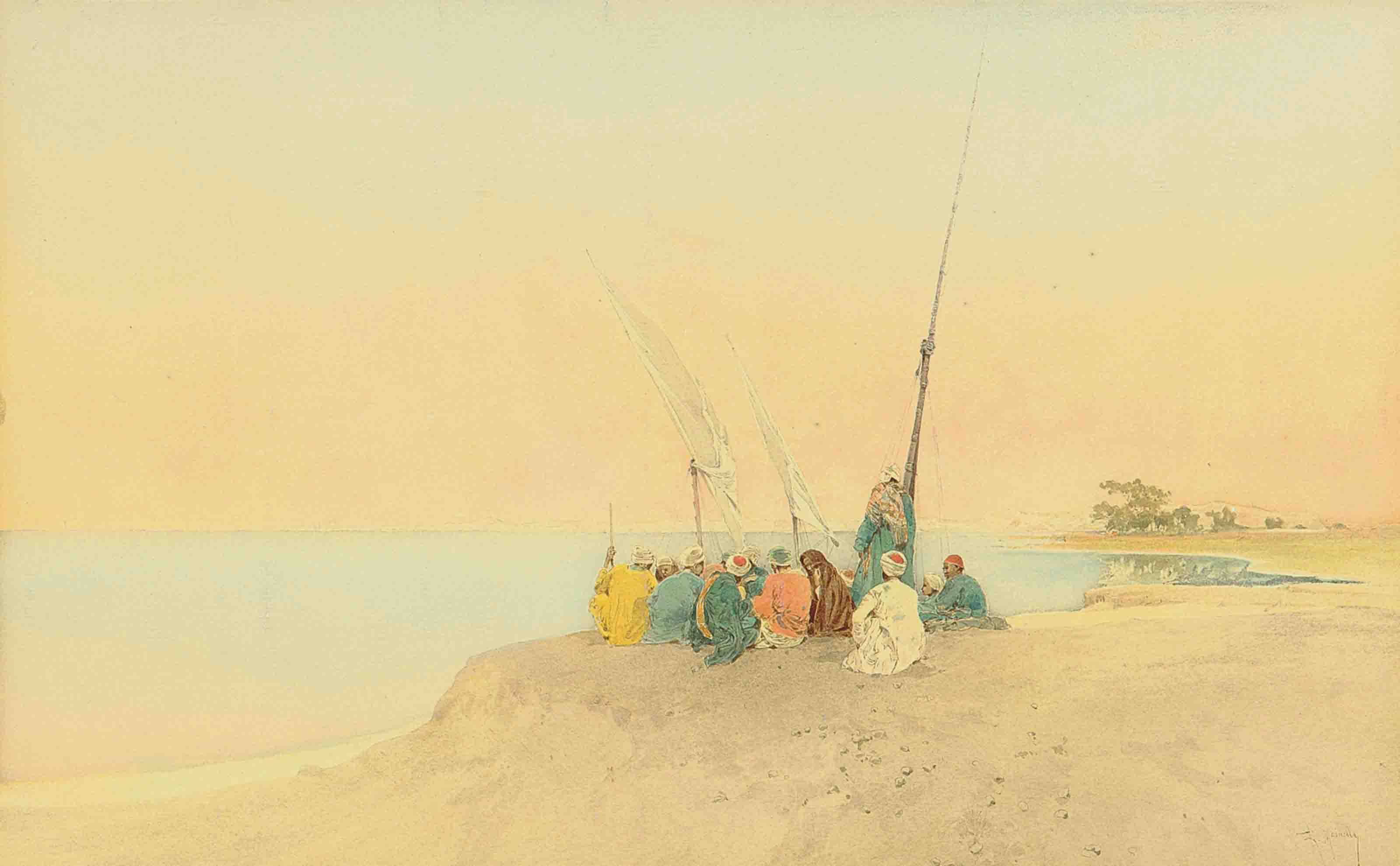 Arabs on the coast at dusk