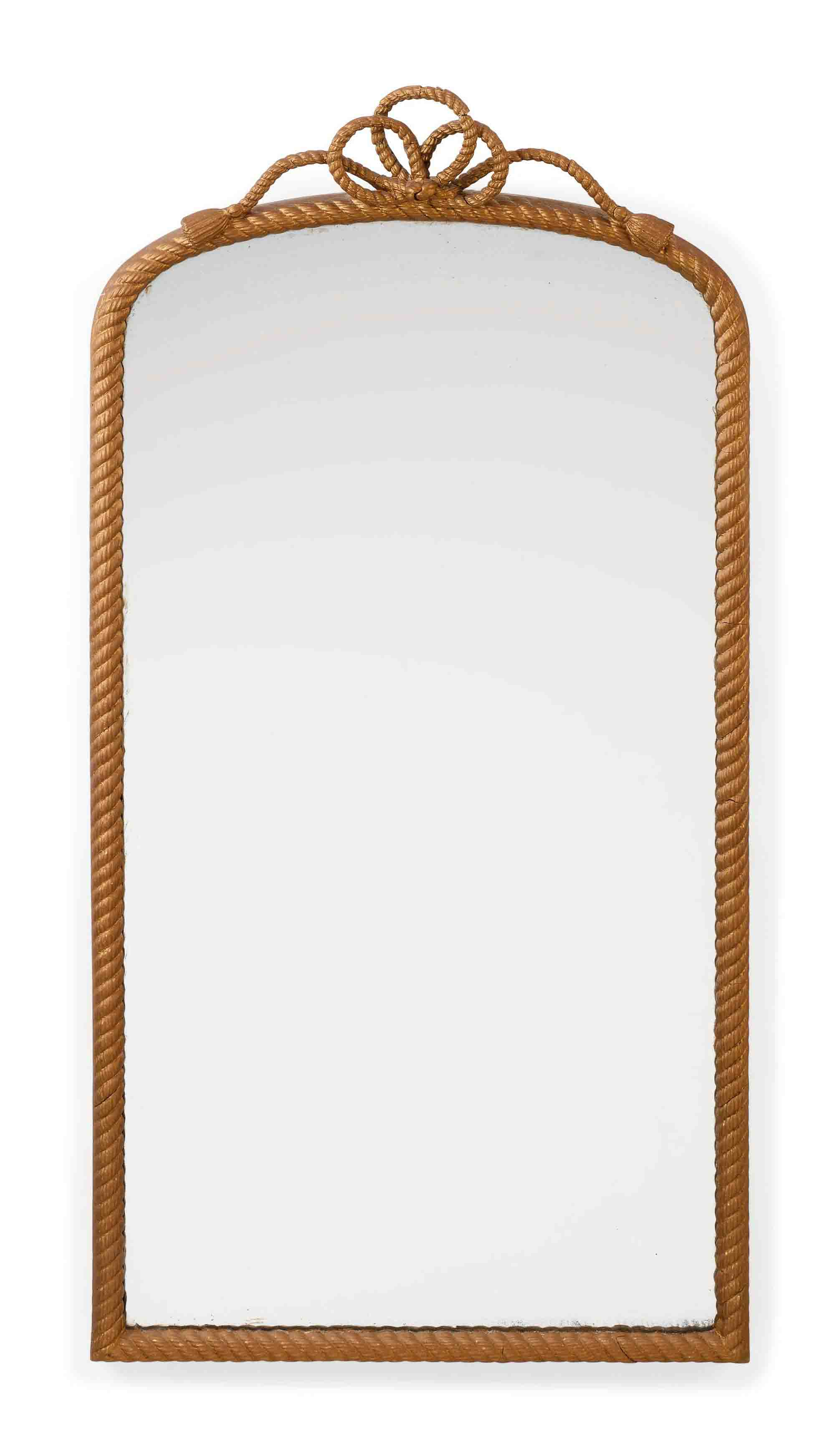 A PAIR OF FRENCH GILT DECORATED CARVED WOOD AND COMPOSITION MIRRORS