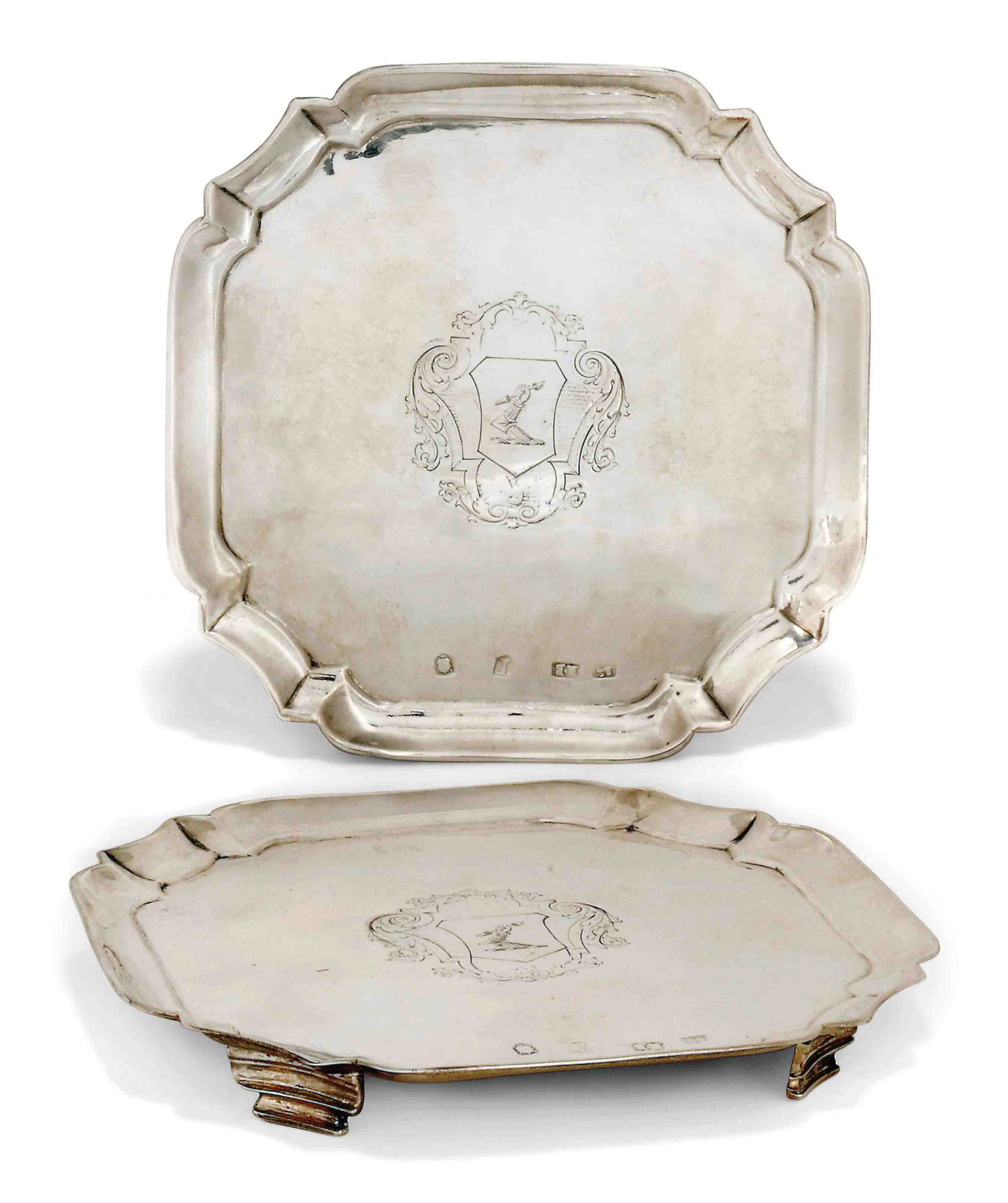 A SMALL PAIR OF GEORGE II SILVER SALVERS