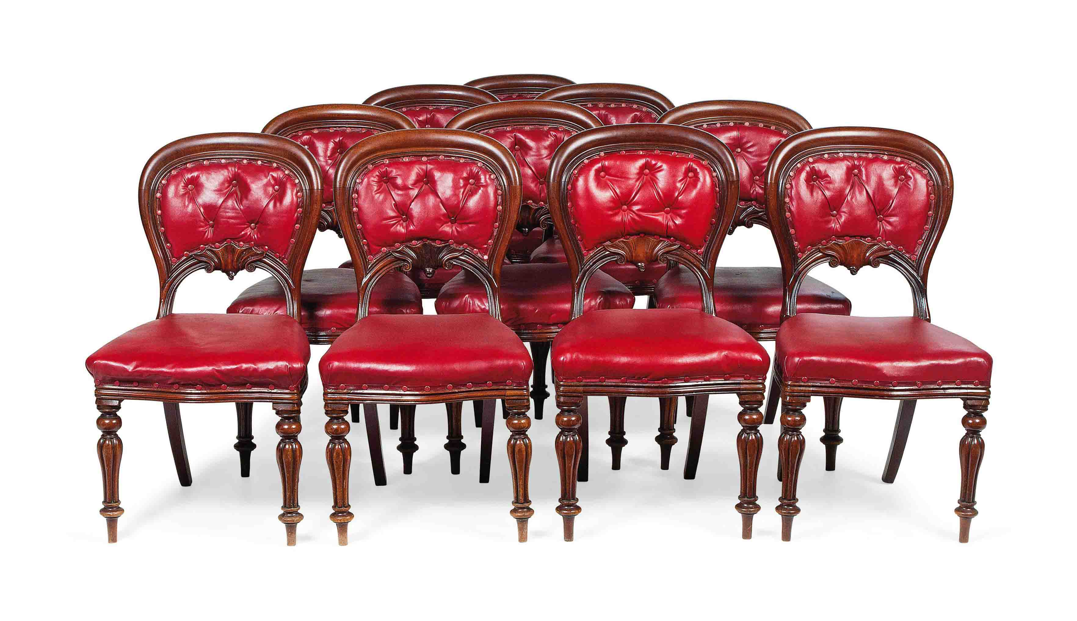 A SET OF TEN EARLY VICTORIAN MAHOGANY DINING CHAIRS