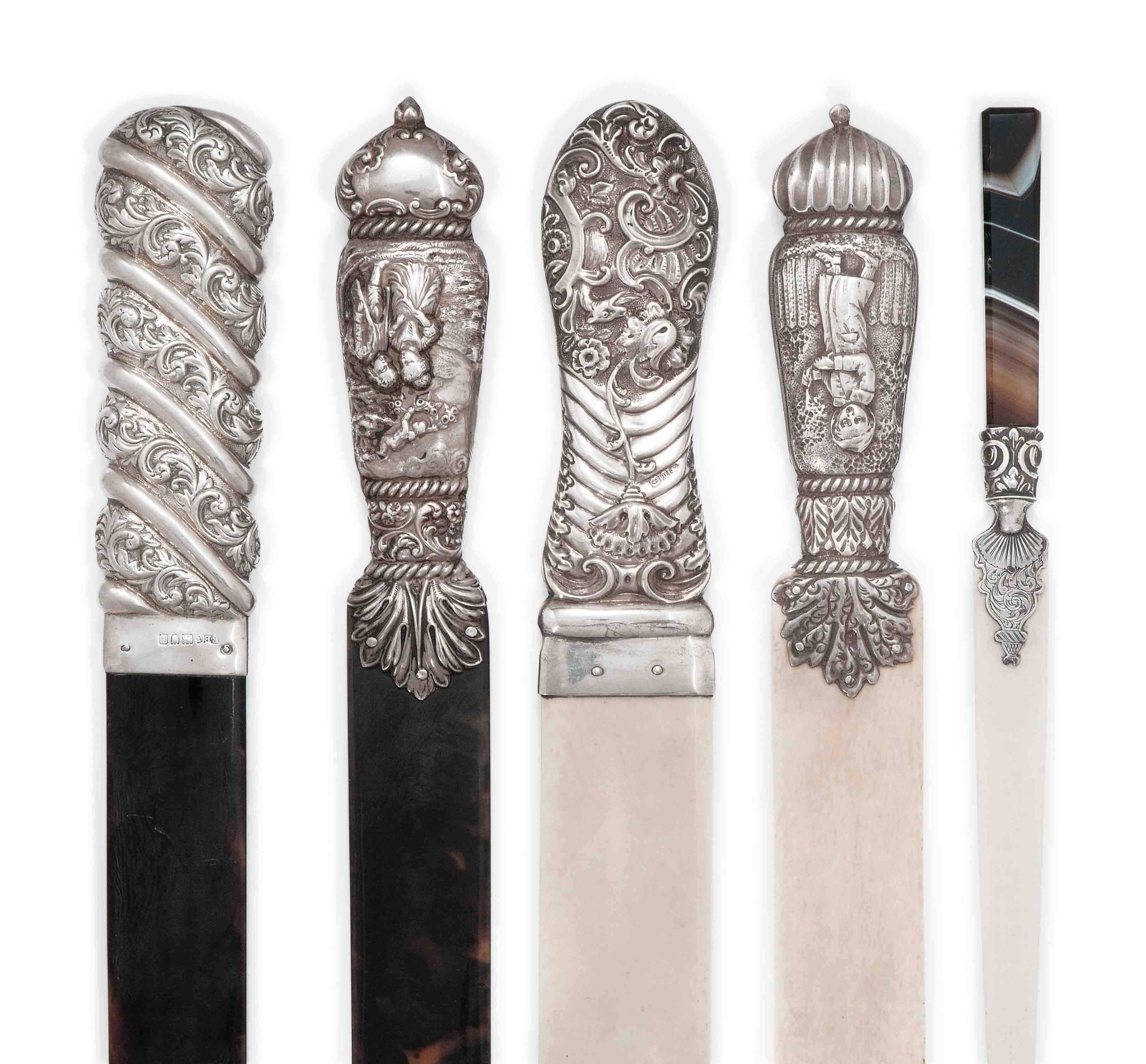 A GROUP OF FIVE VICTORIAN/EDWARDIAN SILVER MOUNTED IVORY AND TORTOISESHELL PAPER KNIVES