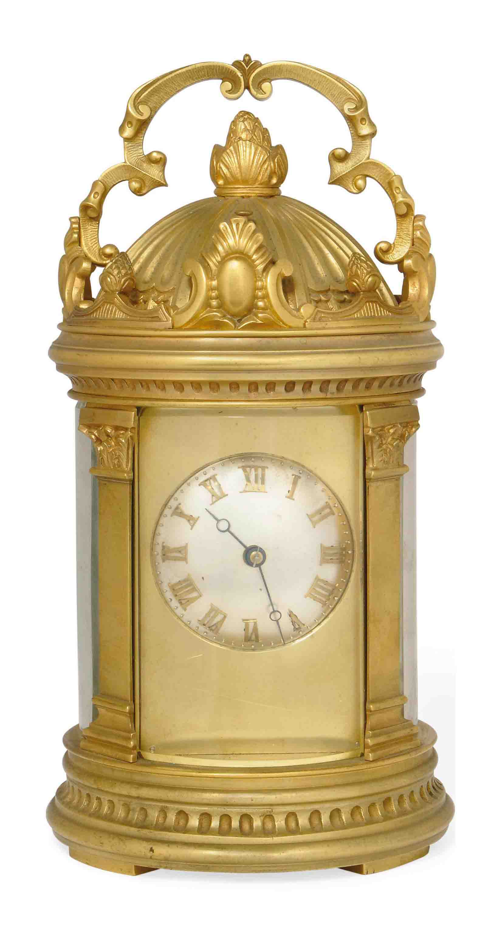 A FRENCH CYLINDRICAL ORMOLU STRIKE-REPEAT CARRIAGE CLOCK