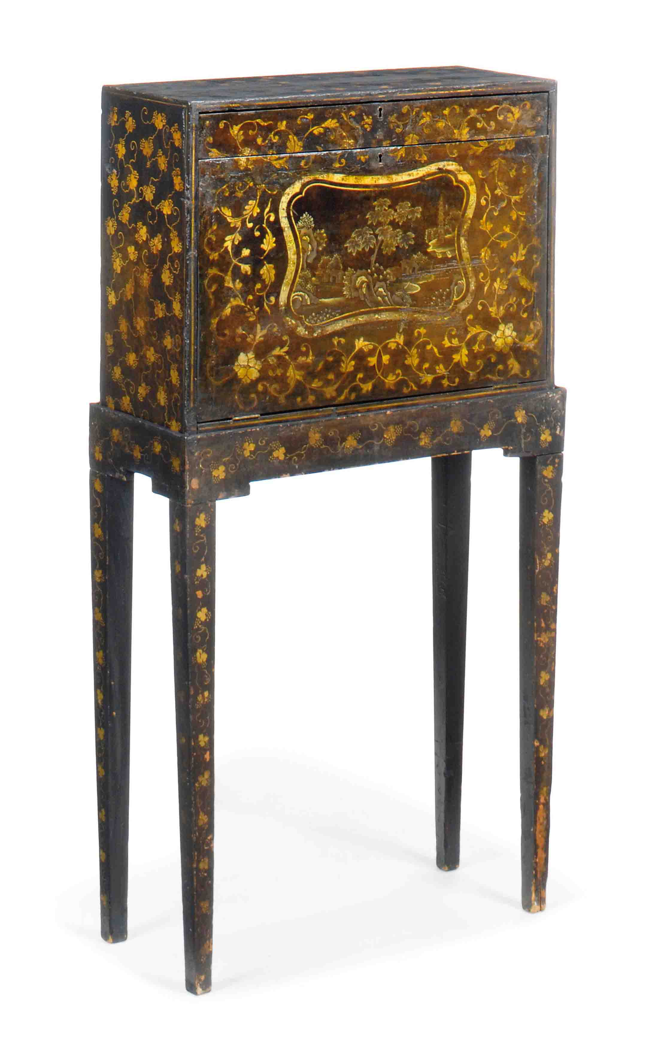 A REGENCY BLACK AND GILT JAPANNED CABINET ON STAND