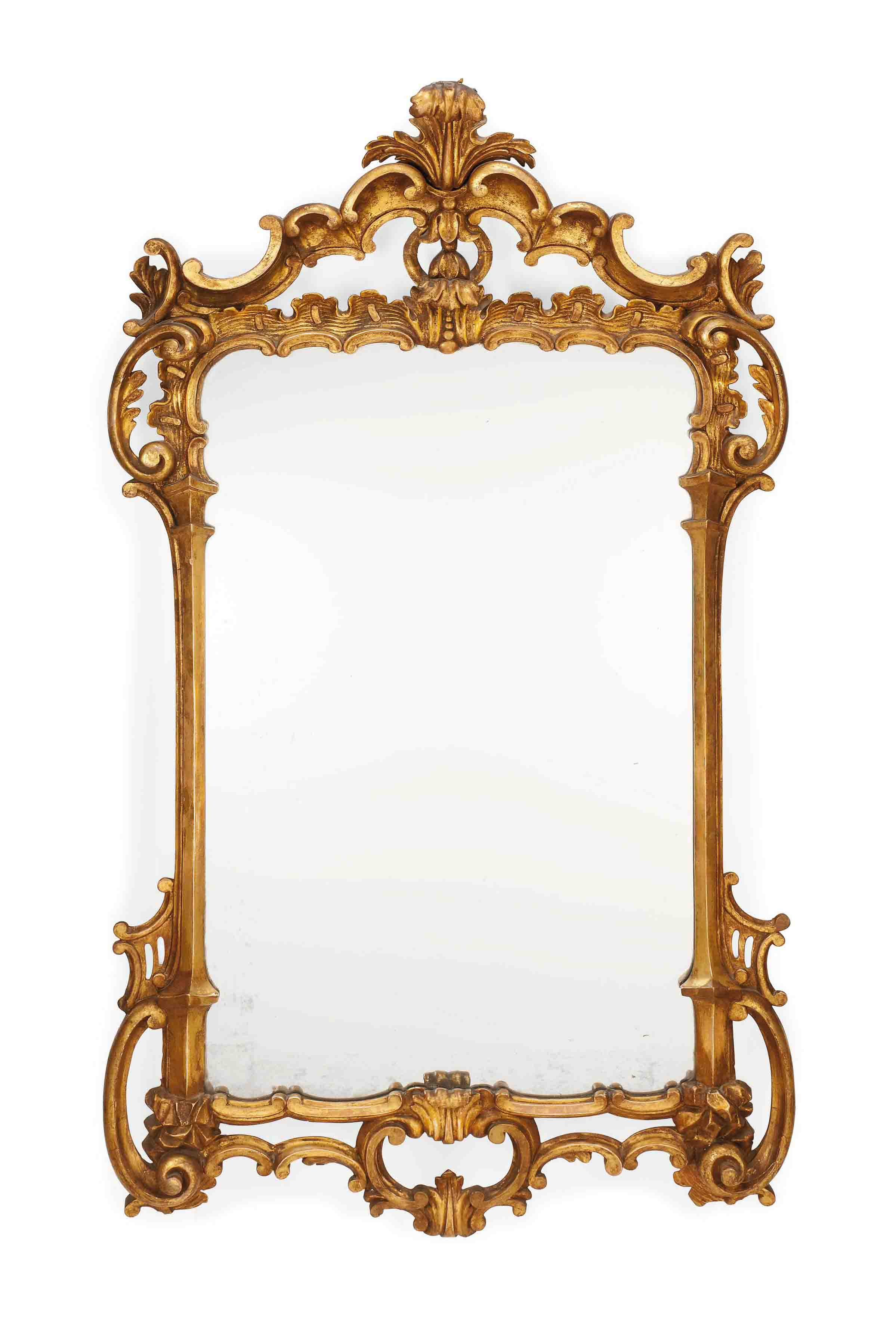 A MID-VICTORIAN CARVED GILTWOOD MIRROR