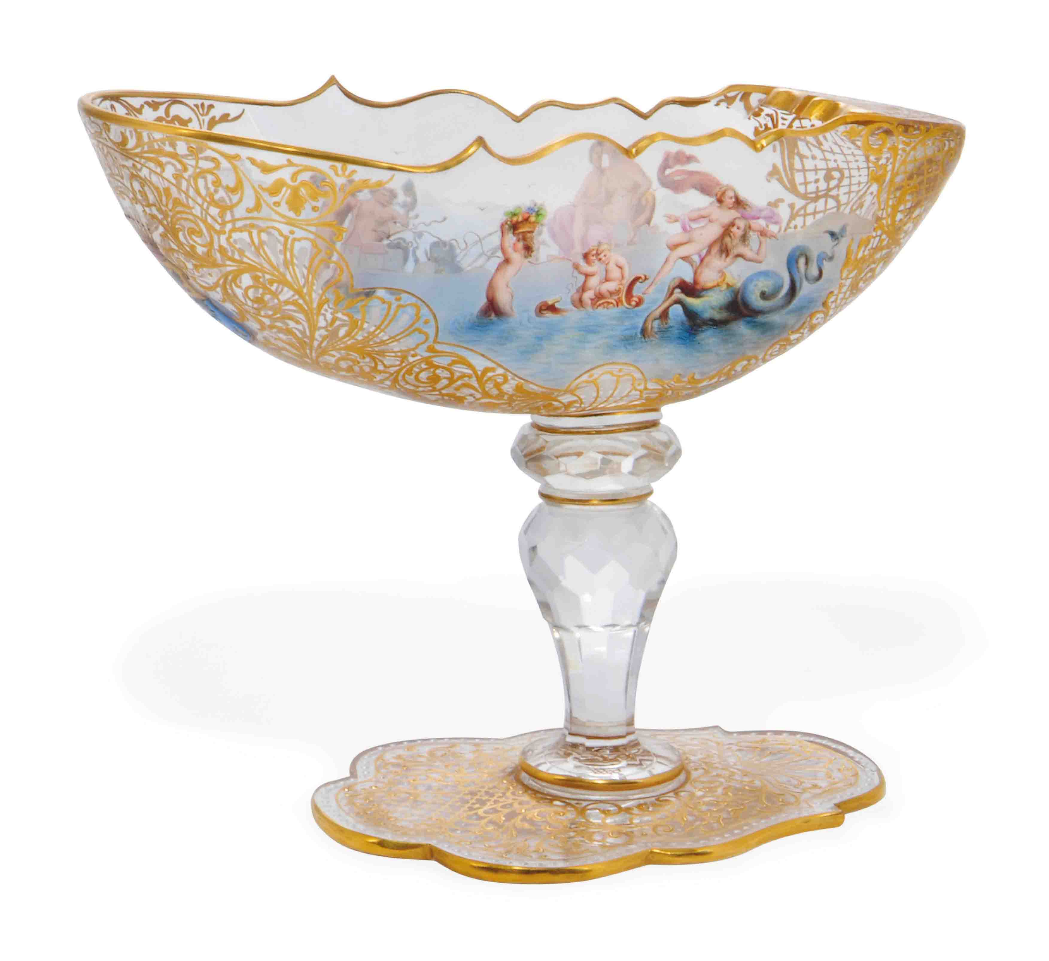 A LOBMEYR ENAMELLED GLASS ARMORIAL SWEETMEAT-DISH