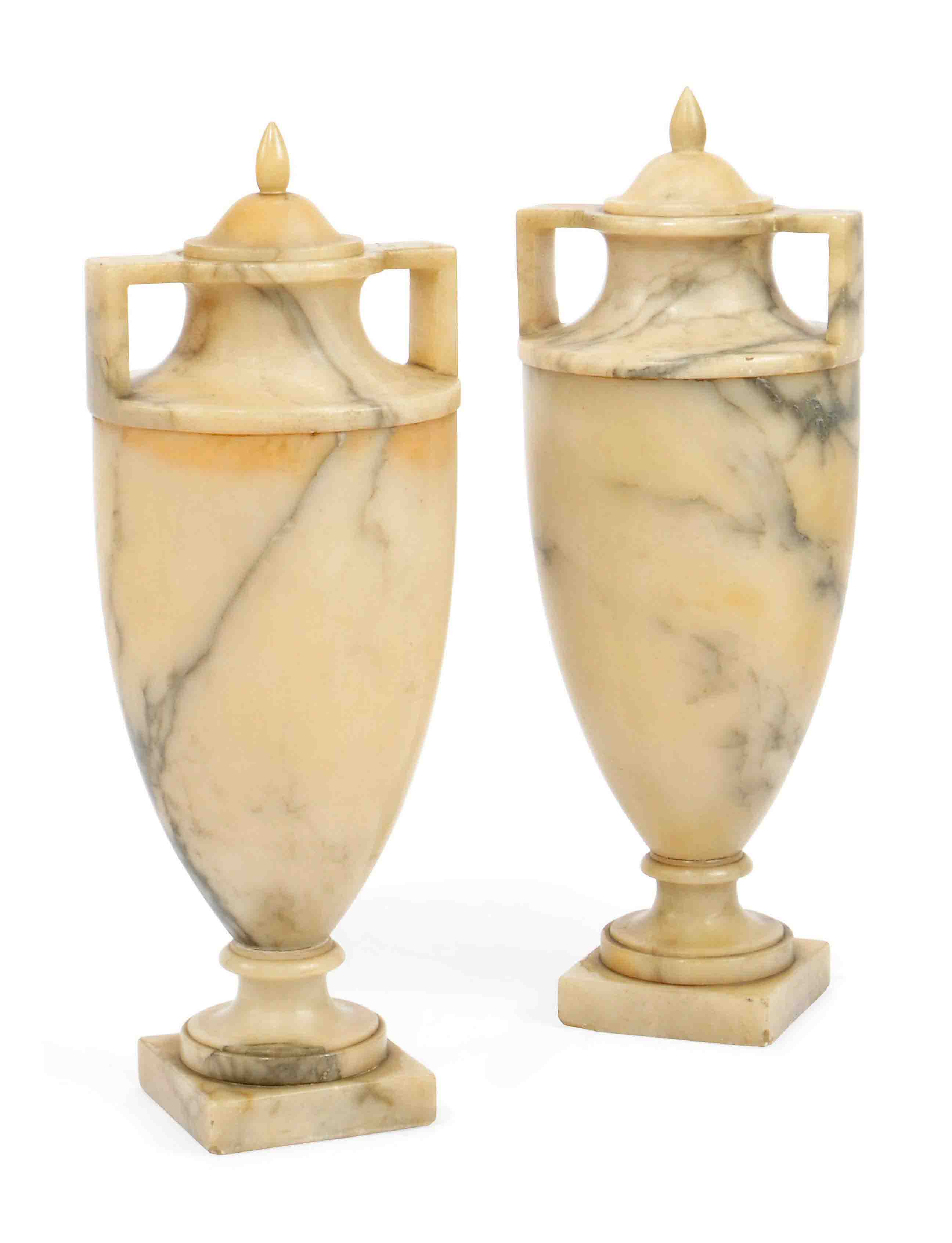 A PAIR OF ITALIAN ALABASTER URNS AND COVERS