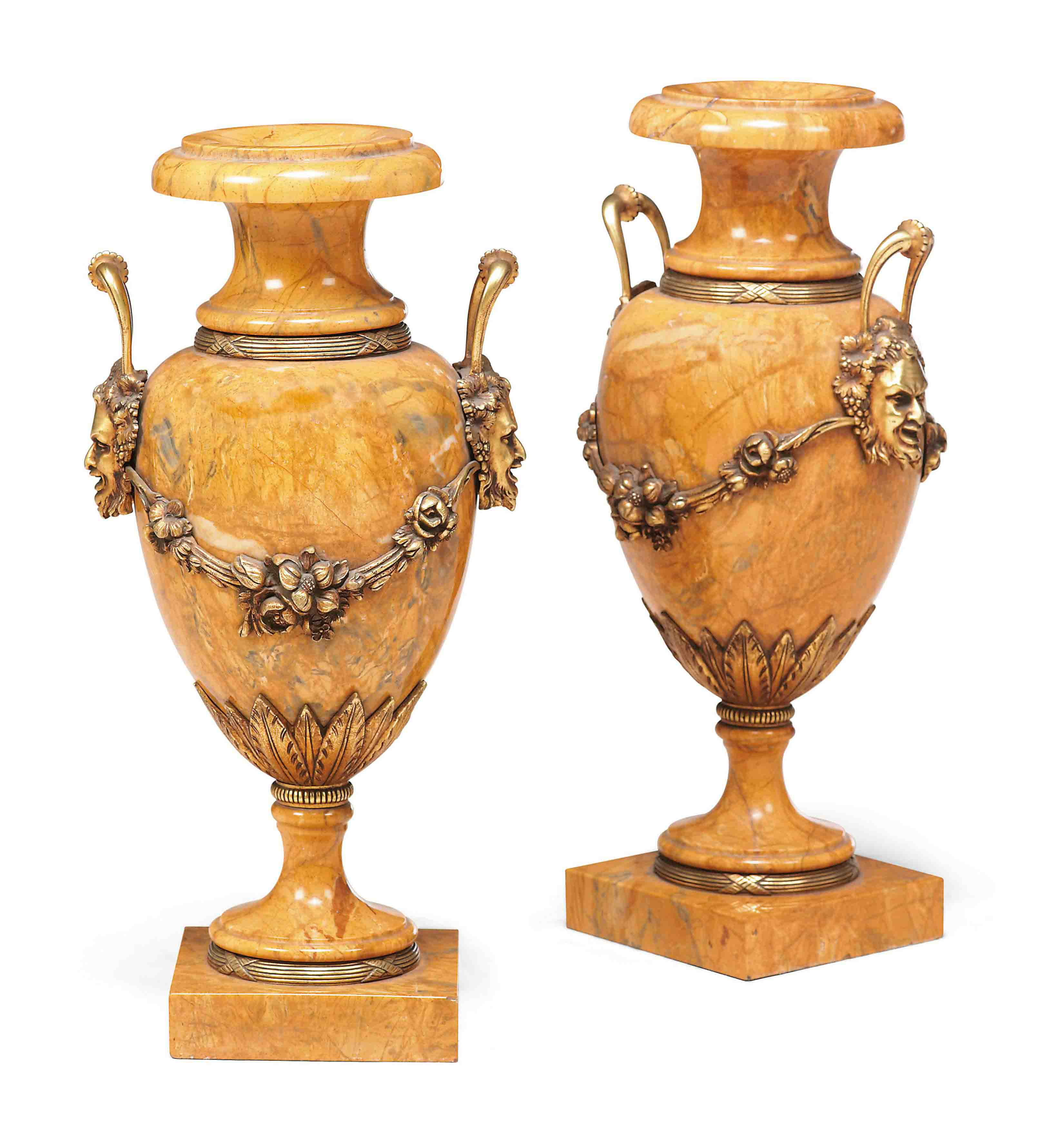 A PAIR OF CONTINENTAL YELLOW MARBLE AND GILT-BRONZE MOUNTED VASES