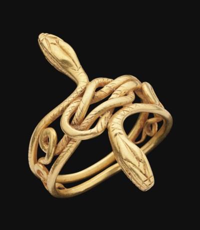 A GRAECO-ROMAN GOLD SNAKE RING