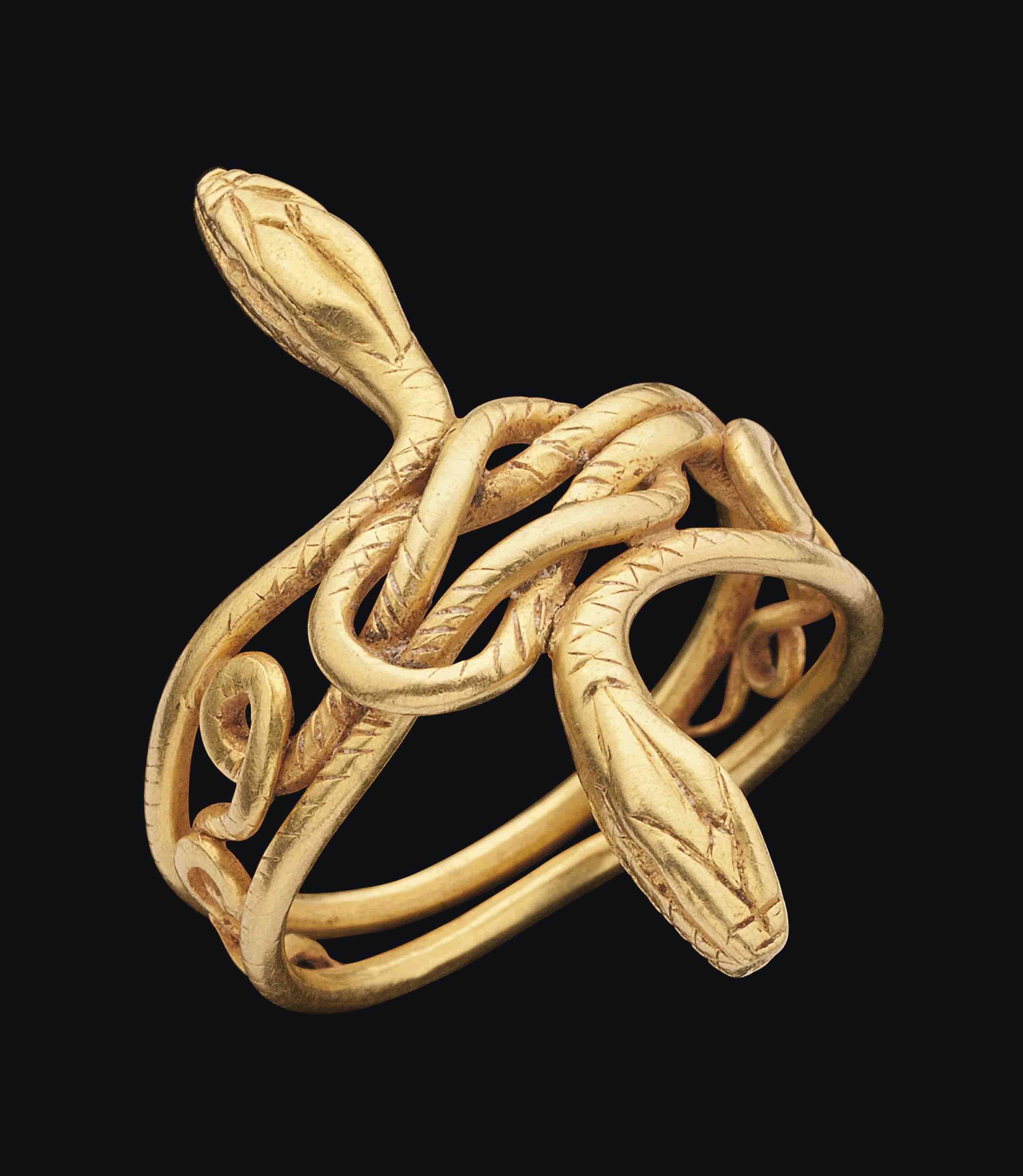 A Graeco Roman Gold Snake Ring
