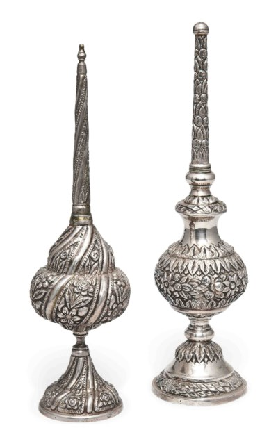 TWO OTTOMAN SILVER ROSEWATER S