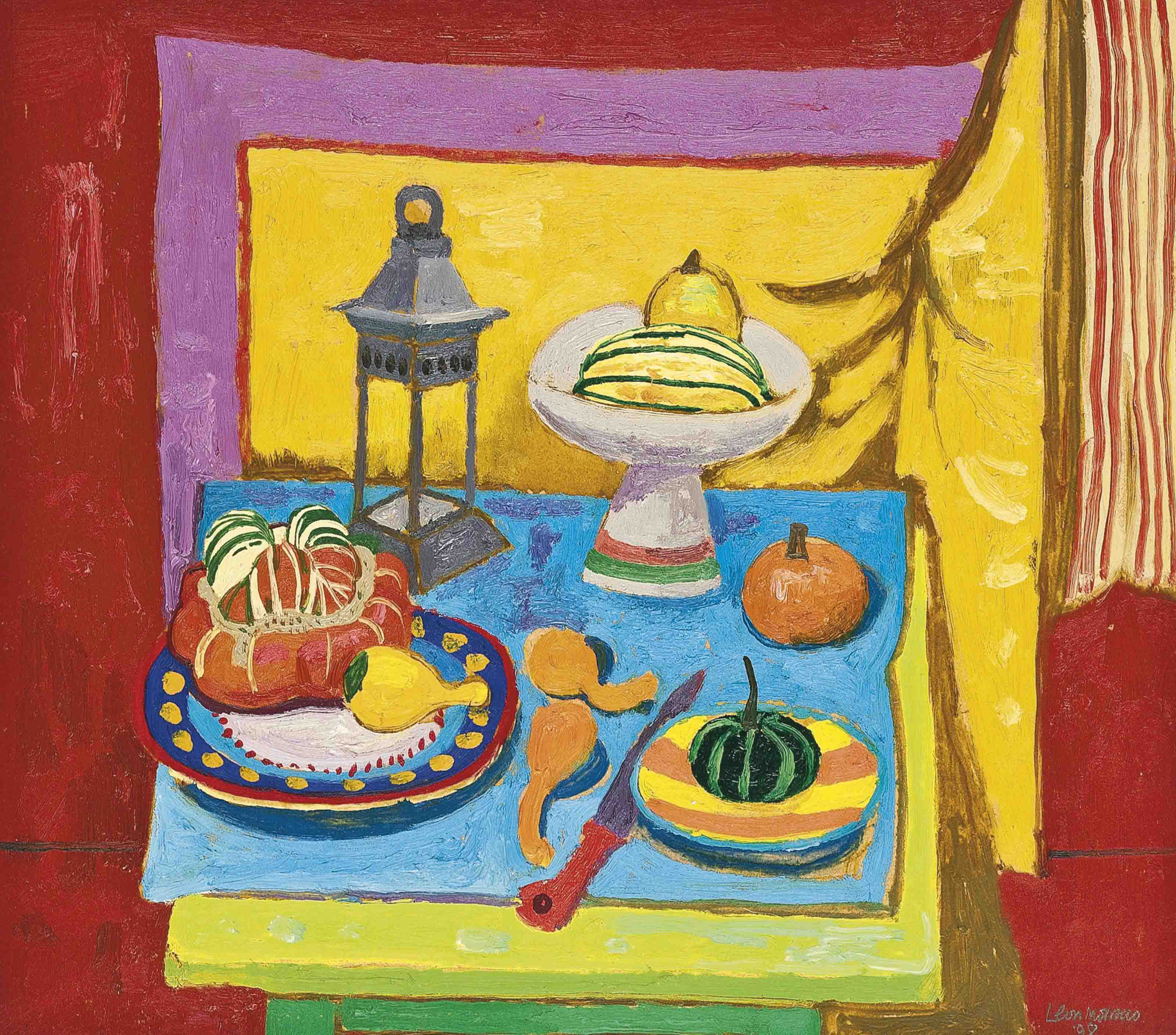 Still Life with Lantern and Yellow Curtain