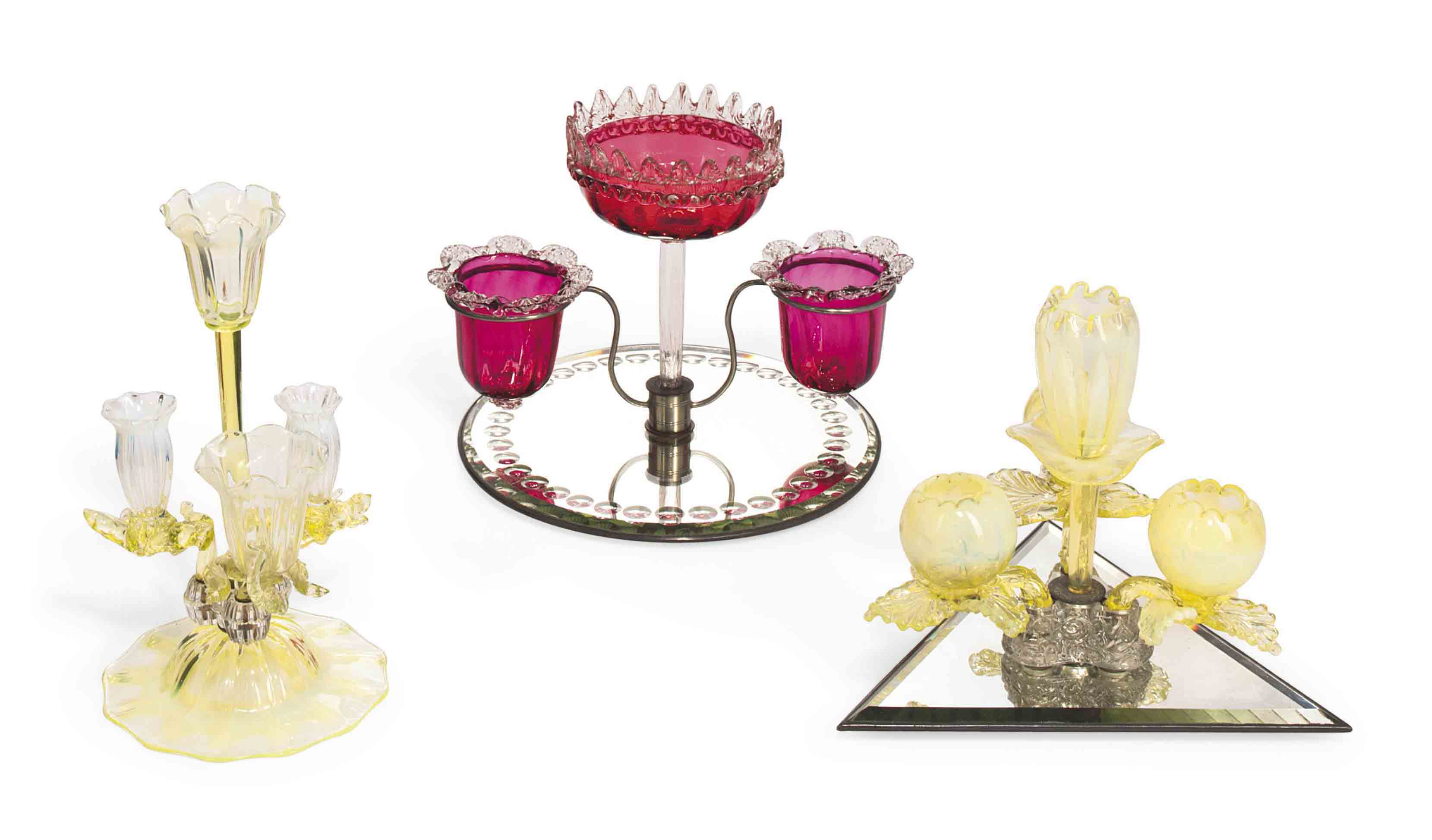 THREE SMALL GLASS CENTREPIECES