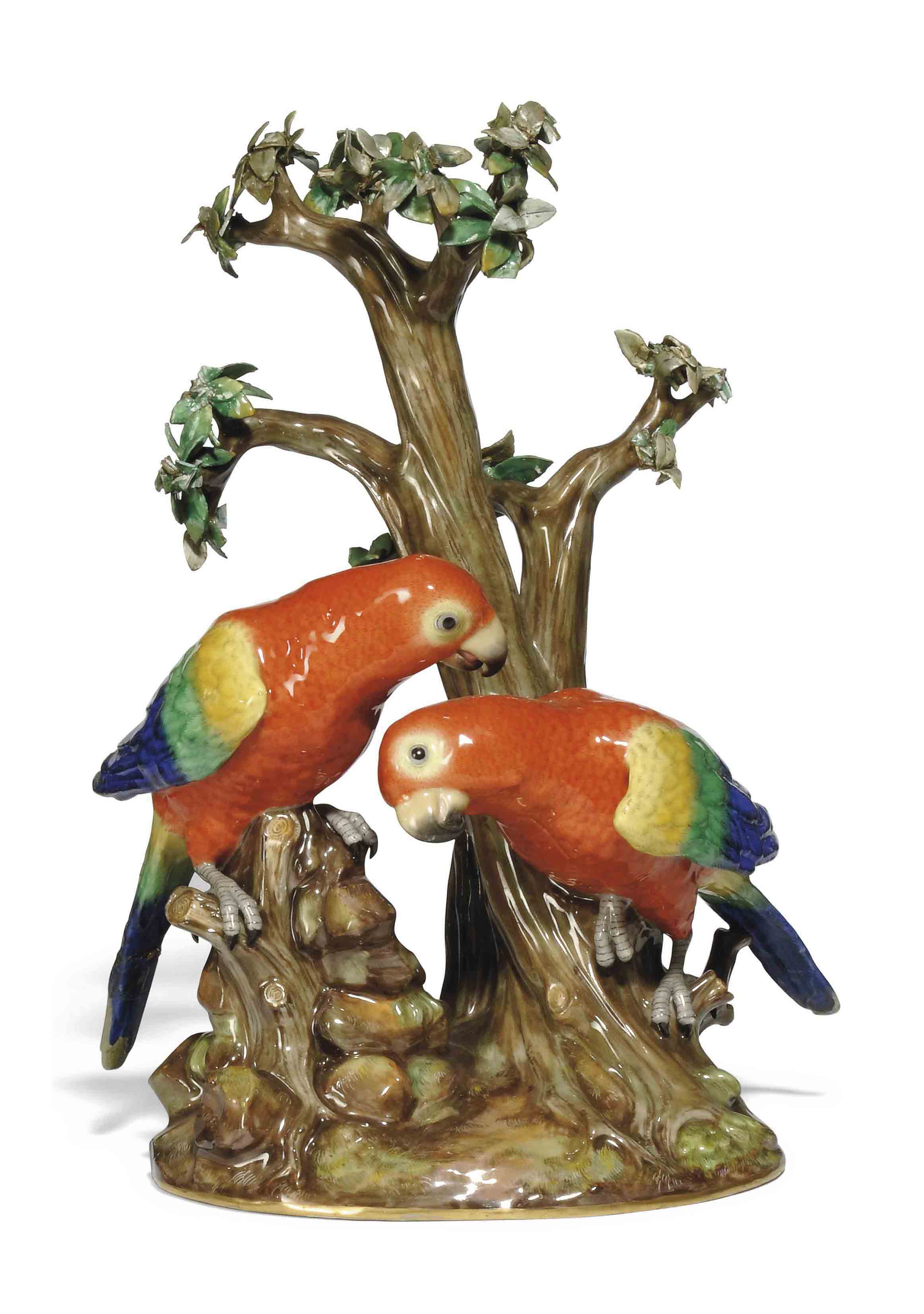 A MEISSEN GROUP OF TWO PARROTS