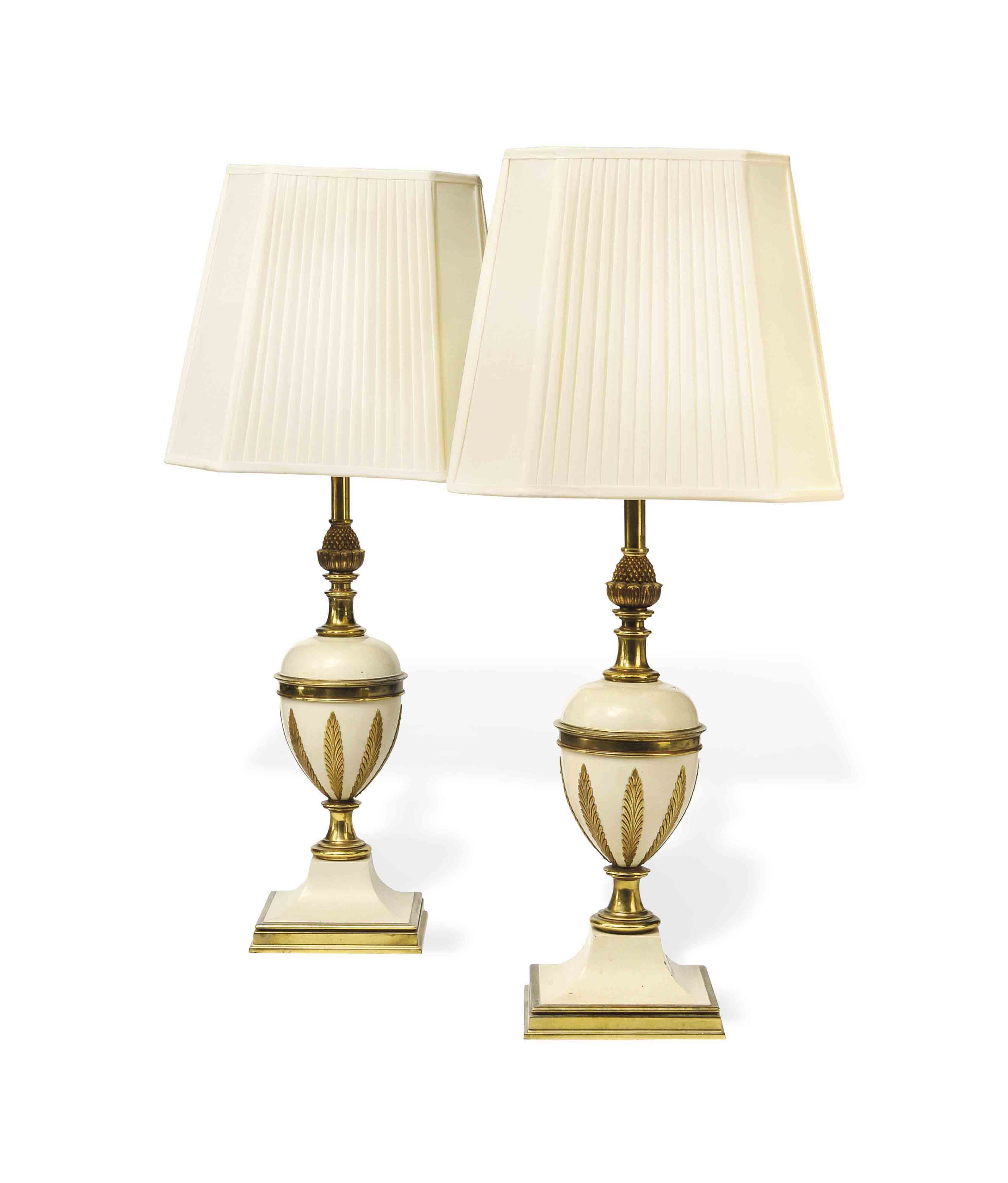 A PAIR OF BRASS-MOUNTED WHITE-