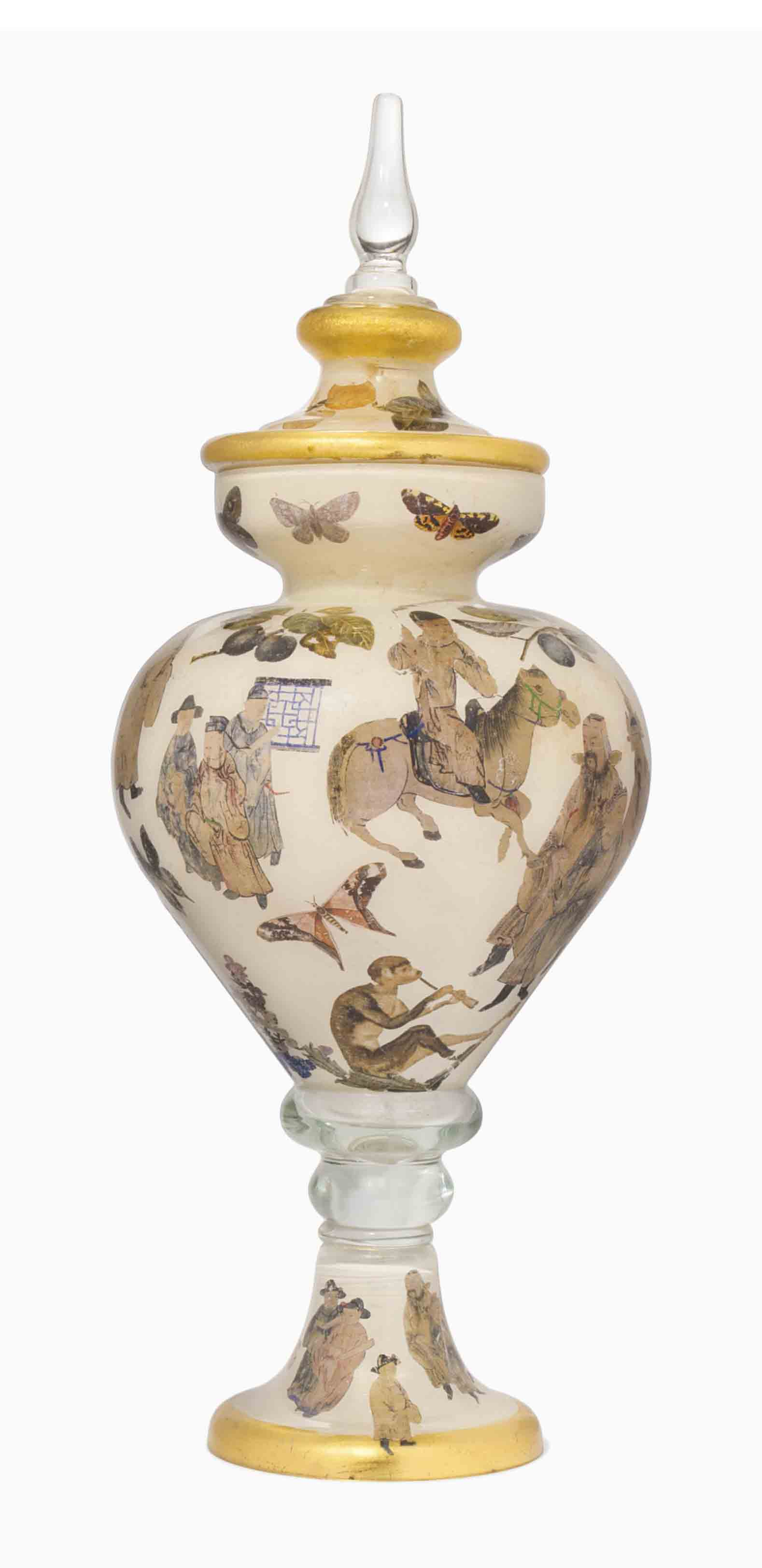 A GLASS DECOUPAGE VASE AND COV