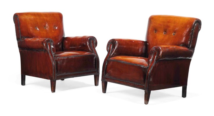 A PAIR OF STAINED BEECH CLUB A