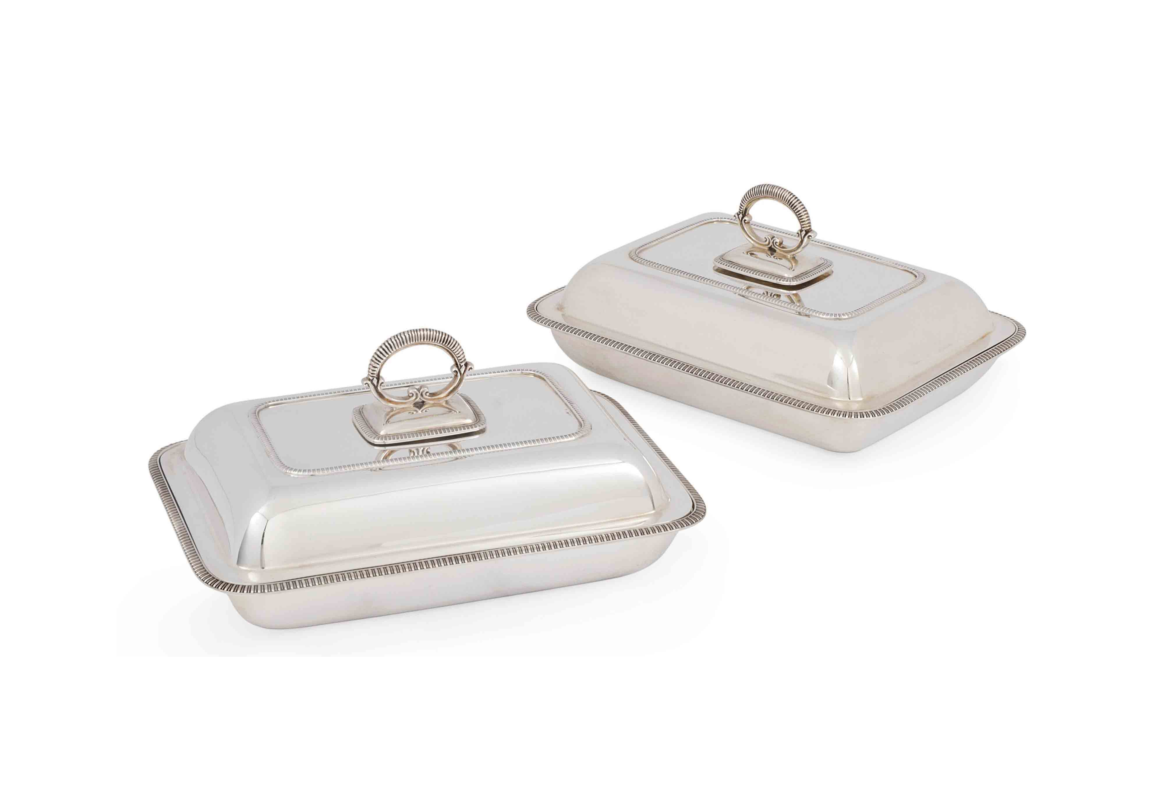 A PAIR OF OBLONG SILVER ENTREE