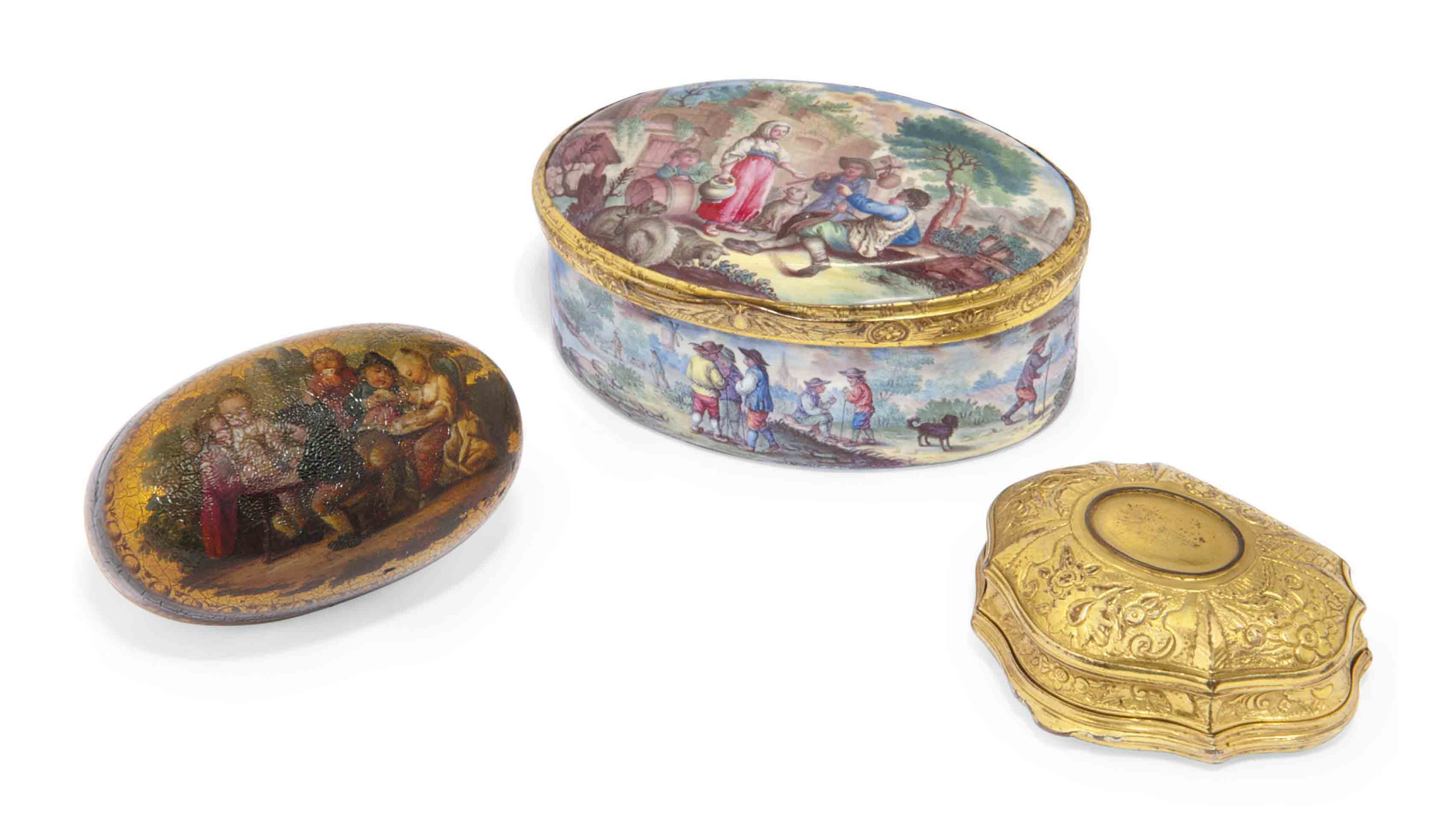 A CONTINENTAL ENAMEL AND GILT-