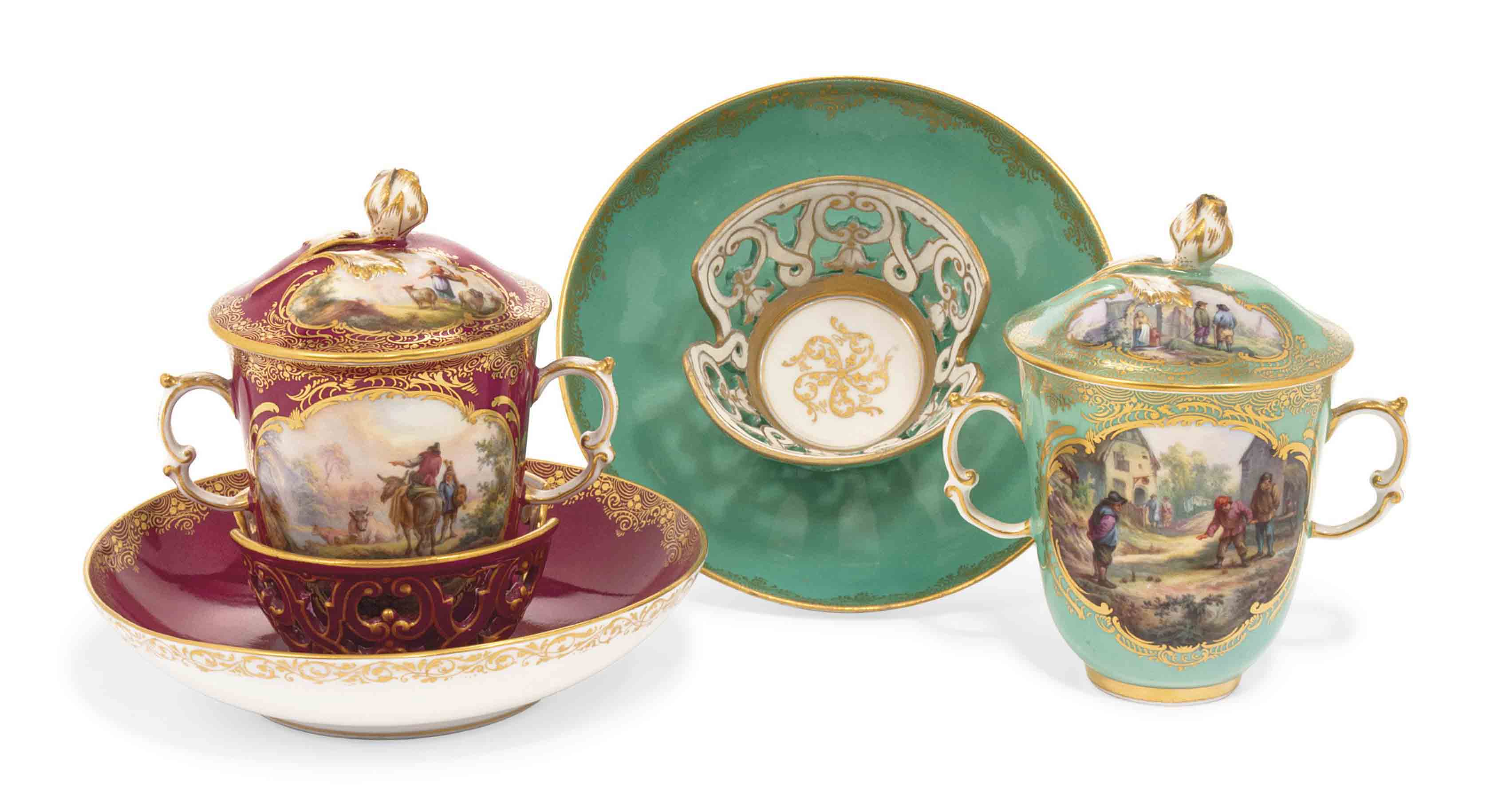 TWO MEISSEN TWO-HANDLED CHOCOL