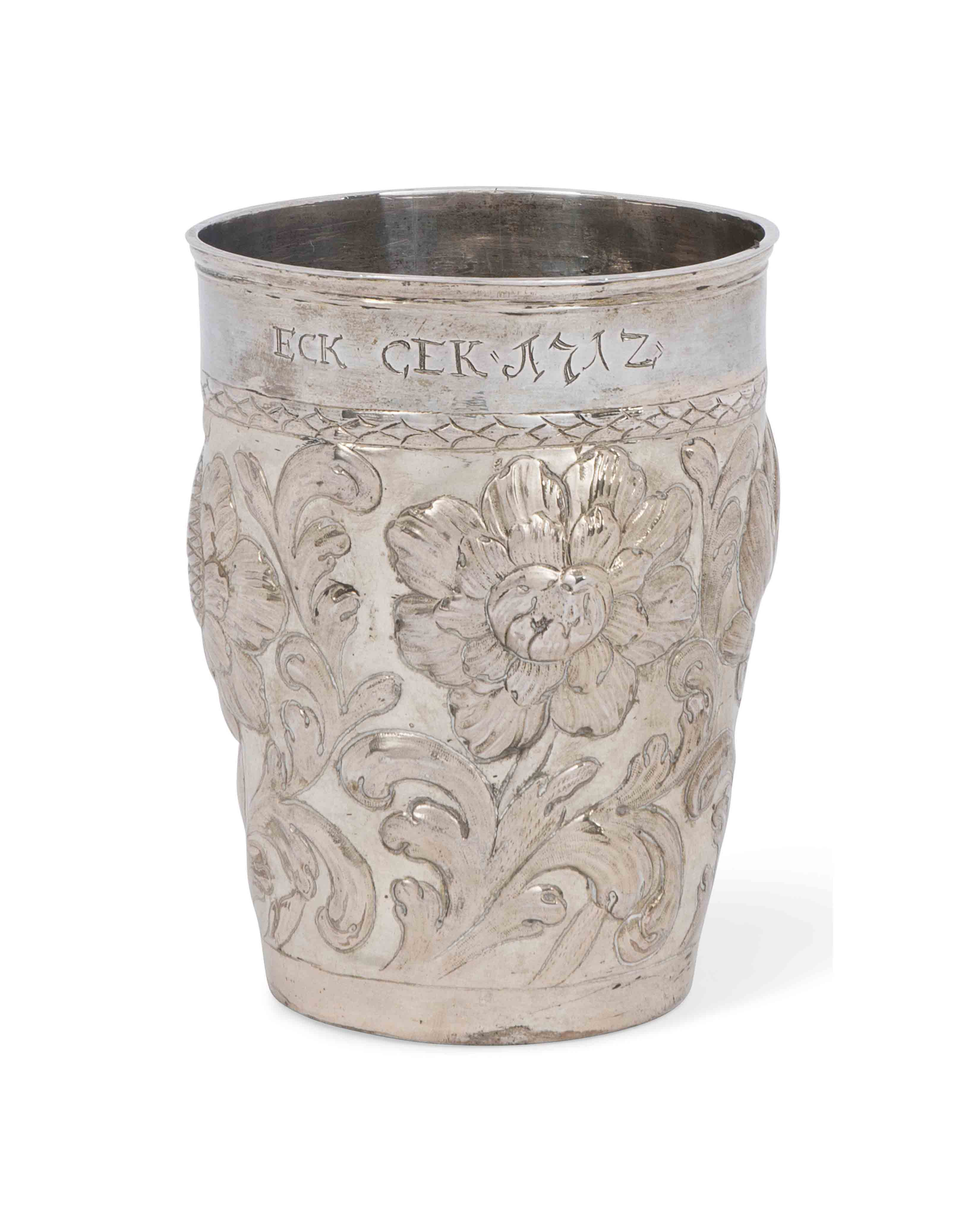 A CONTINENTAL SILVER BEAKER OF