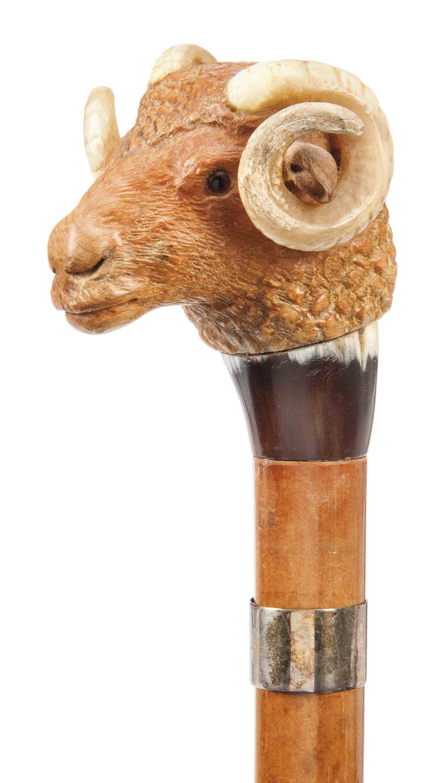 A CARVED WOOD AND HORN RAM'S H
