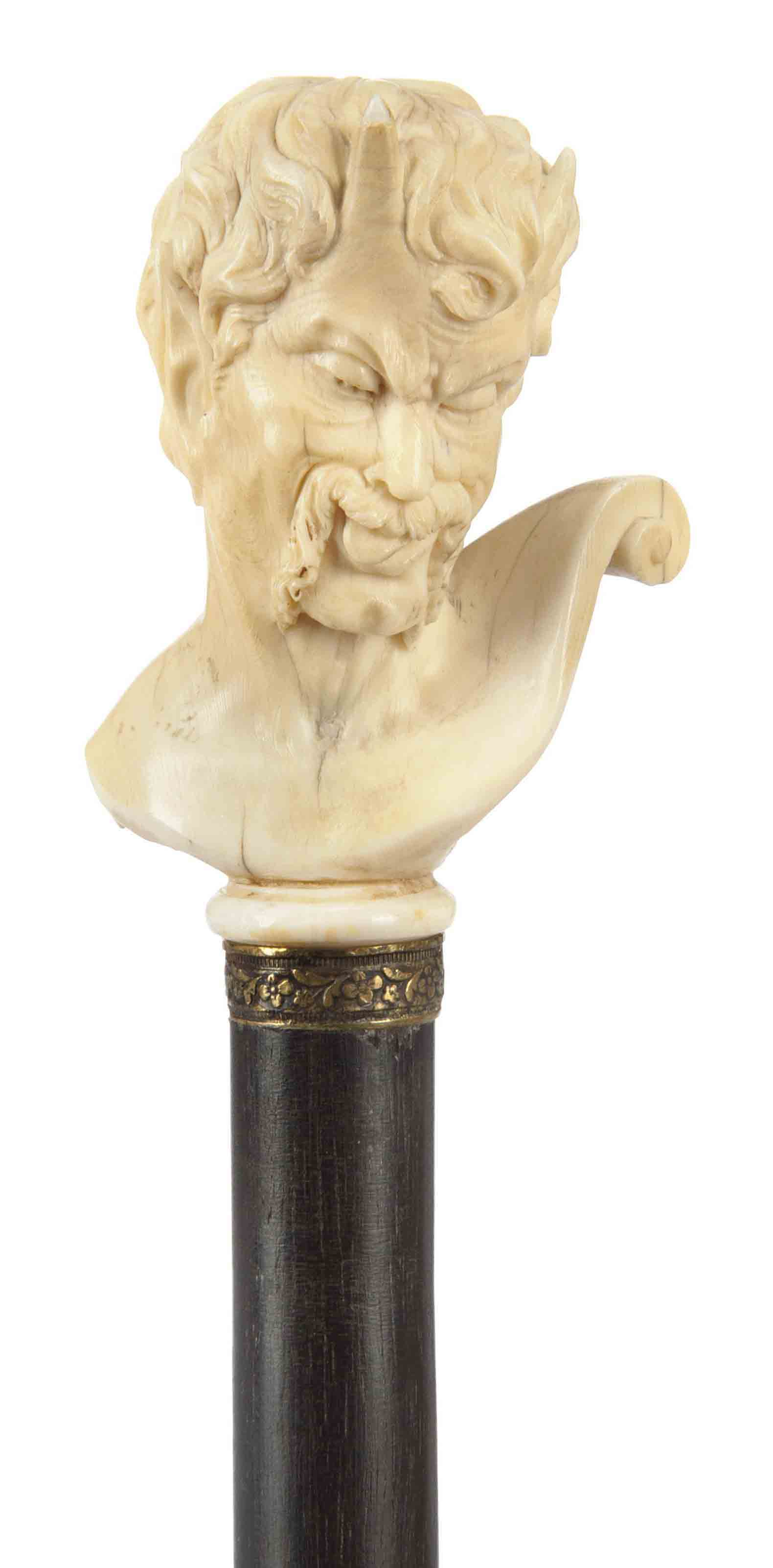 A CARVED IVORY WALKING CANE