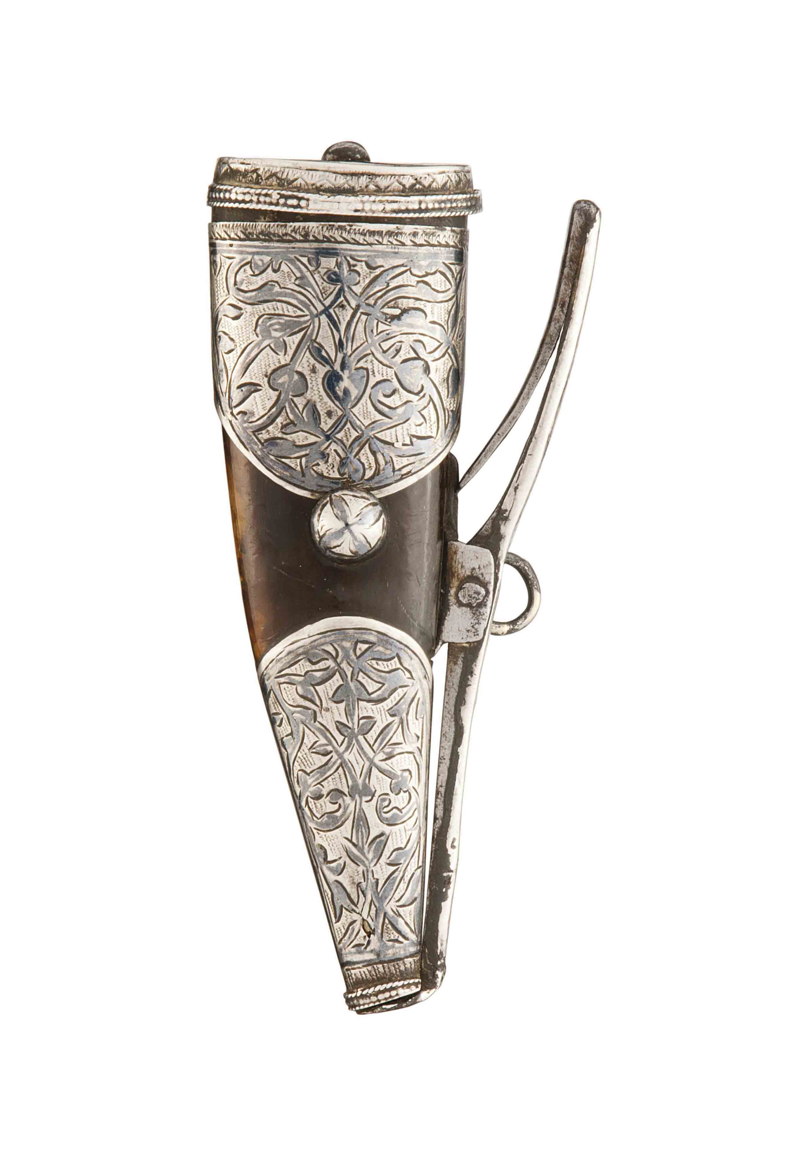 A RUSSIAN HORN PRIMING FLASK W