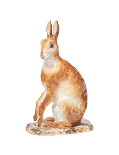 A MEISSEN MODEL OF A HARE