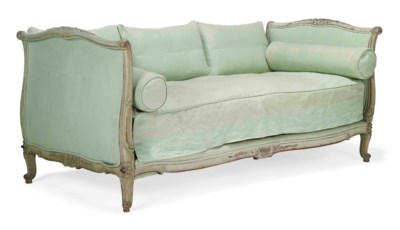 A FRENCH PALE GREEN-PAINTED DA
