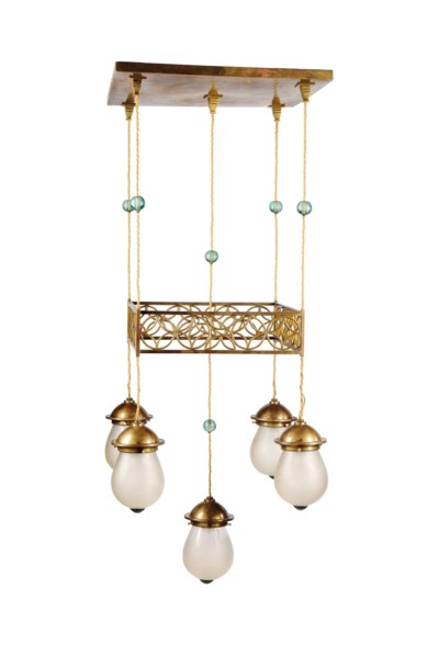 A BRASS AND GLASS HANGING CEIL
