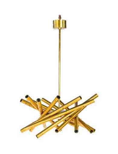 A STILNOVO BRASS CEILING LAMP
