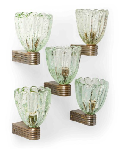 A SET OF FIVE BAROVIER & TOSO