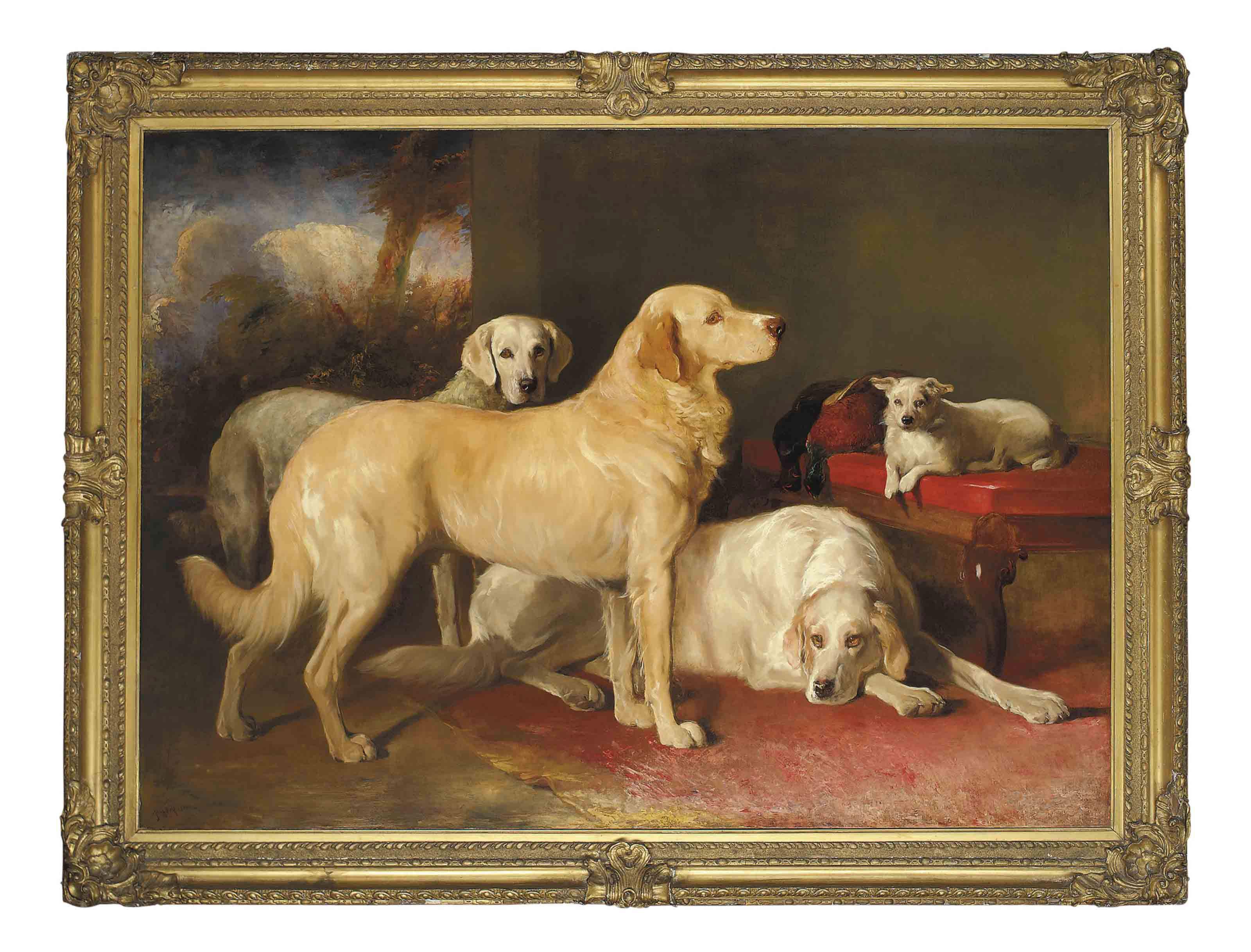 Golden retrievers and a terrier